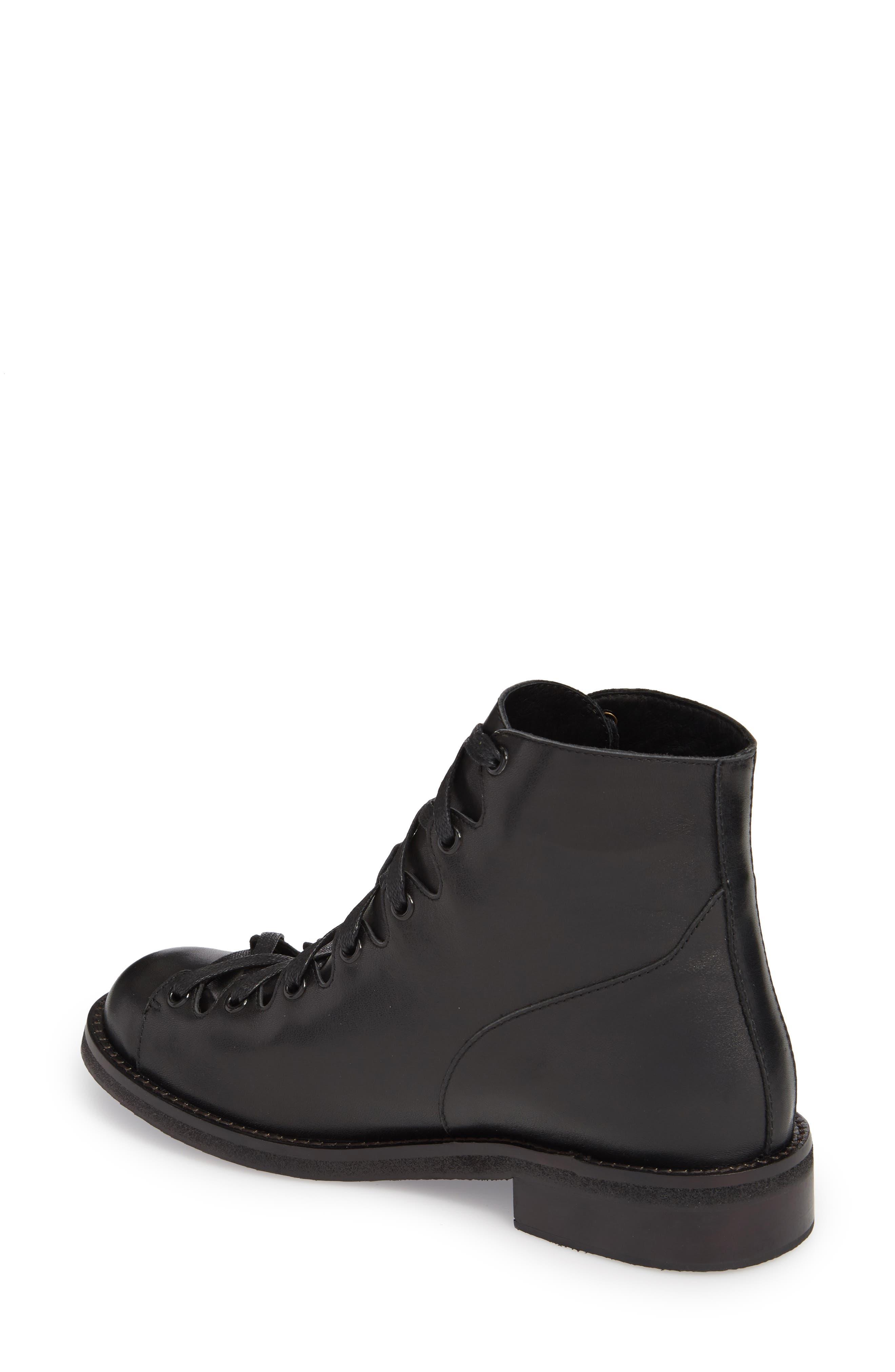 Jess Ghillie Combat Boot,                             Alternate thumbnail 2, color,                             Black Leather