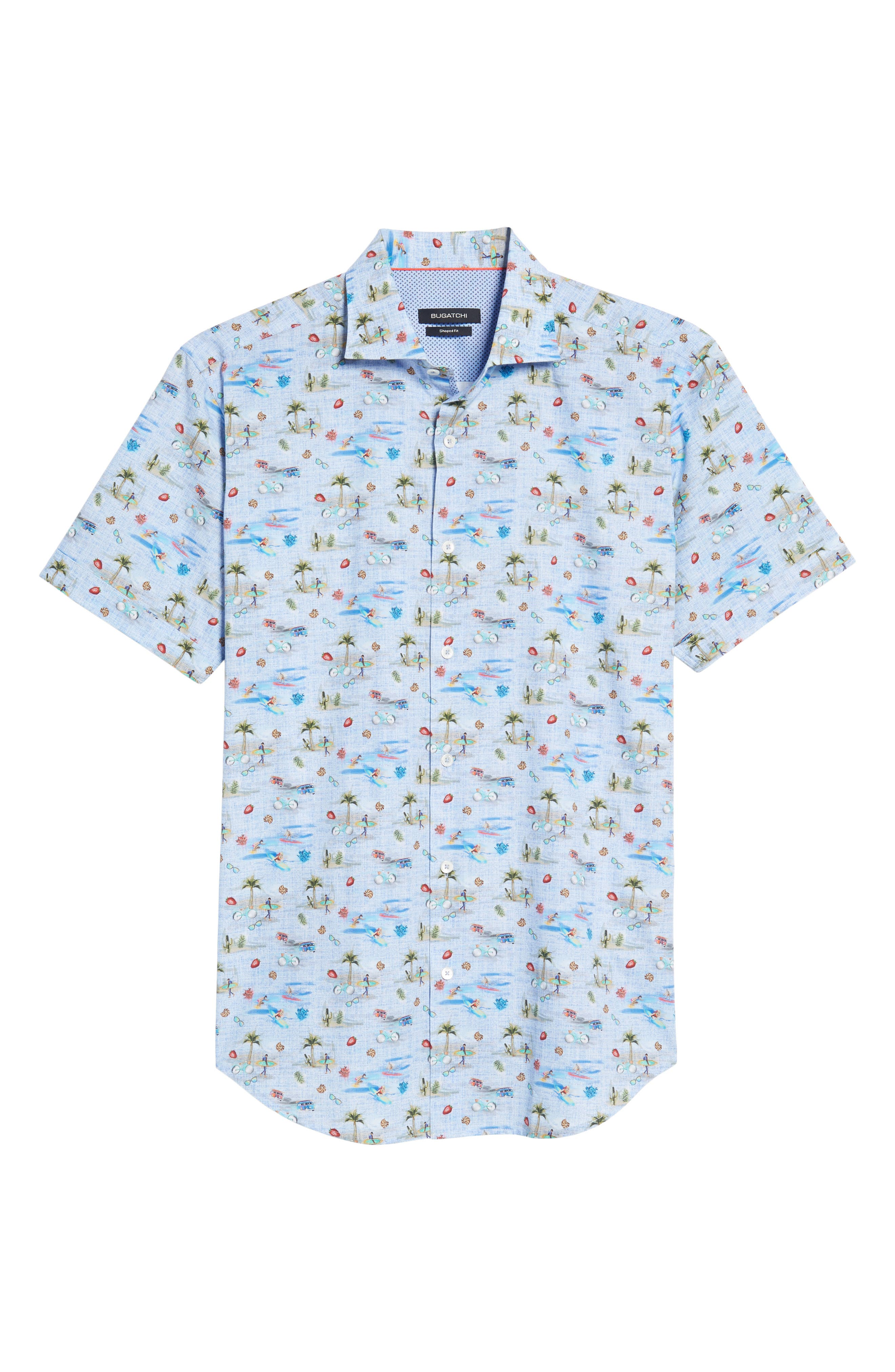 Buatchi Shaped Fit Print Sport Shirt,                             Alternate thumbnail 6, color,                             Dusty Blue