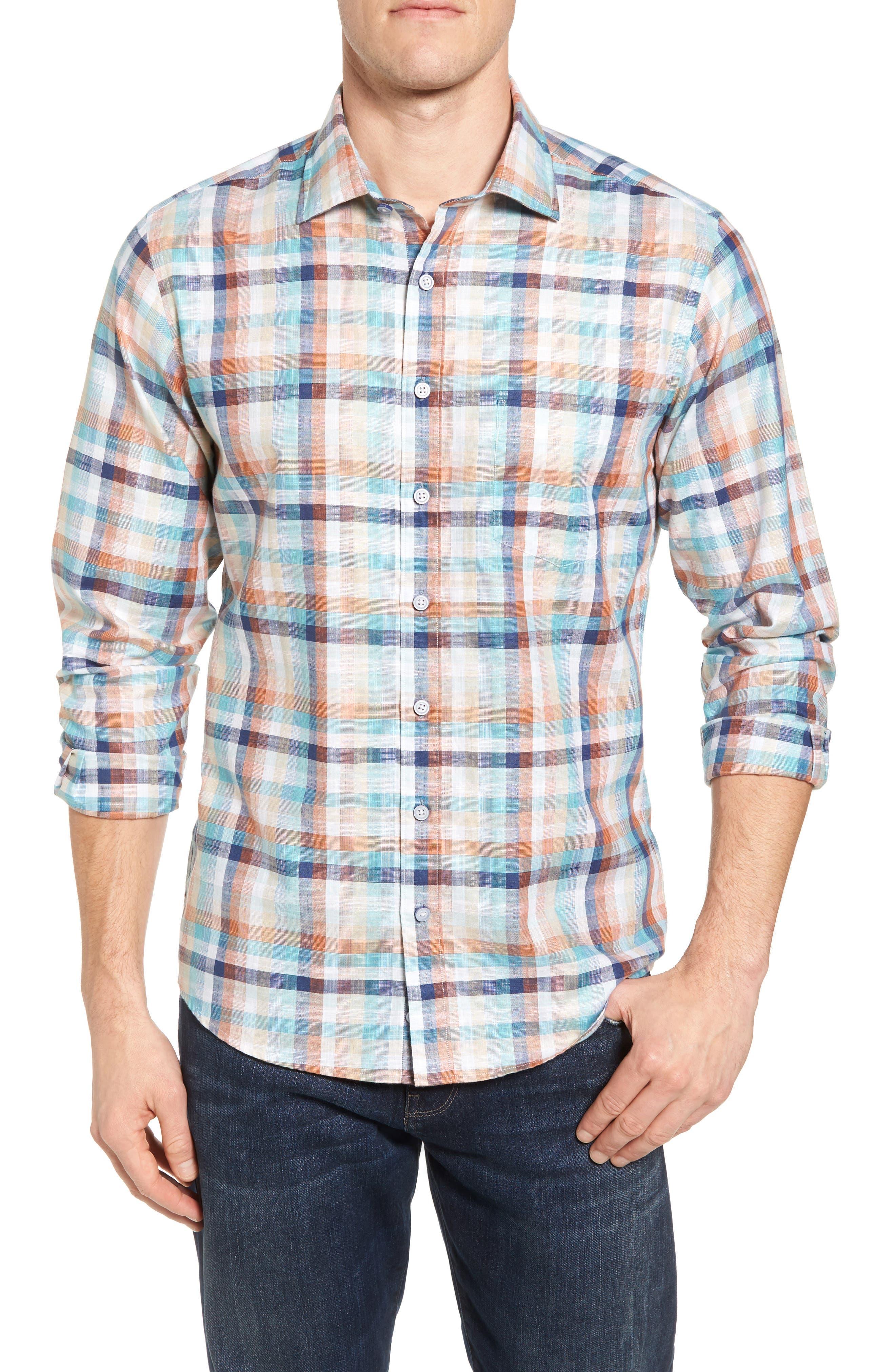 Blackburn Plaid Sport Shirt,                         Main,                         color, Ochre