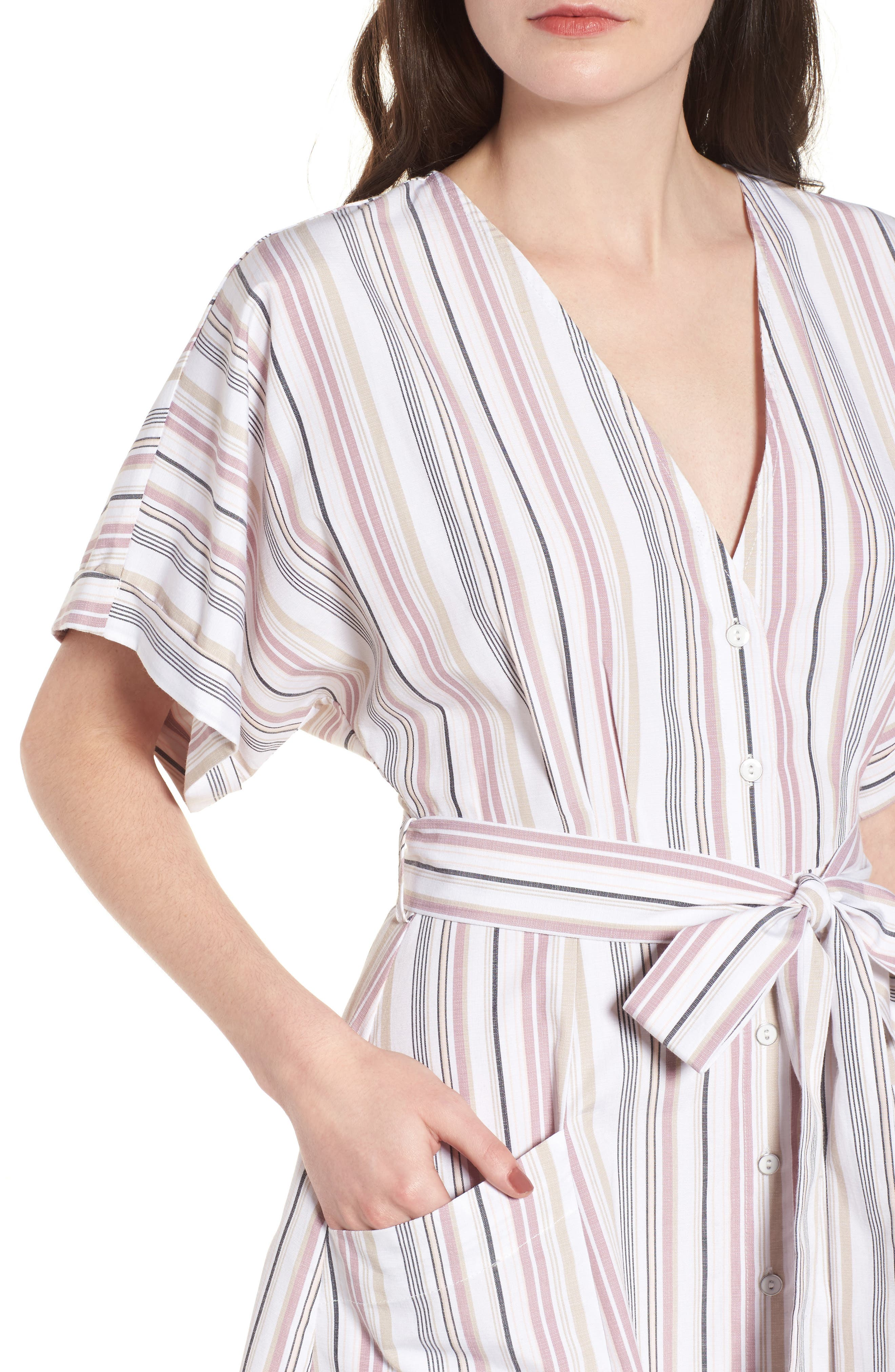 Button Front Dress,                             Alternate thumbnail 4, color,                             Pink Adobe Tracy Stripe