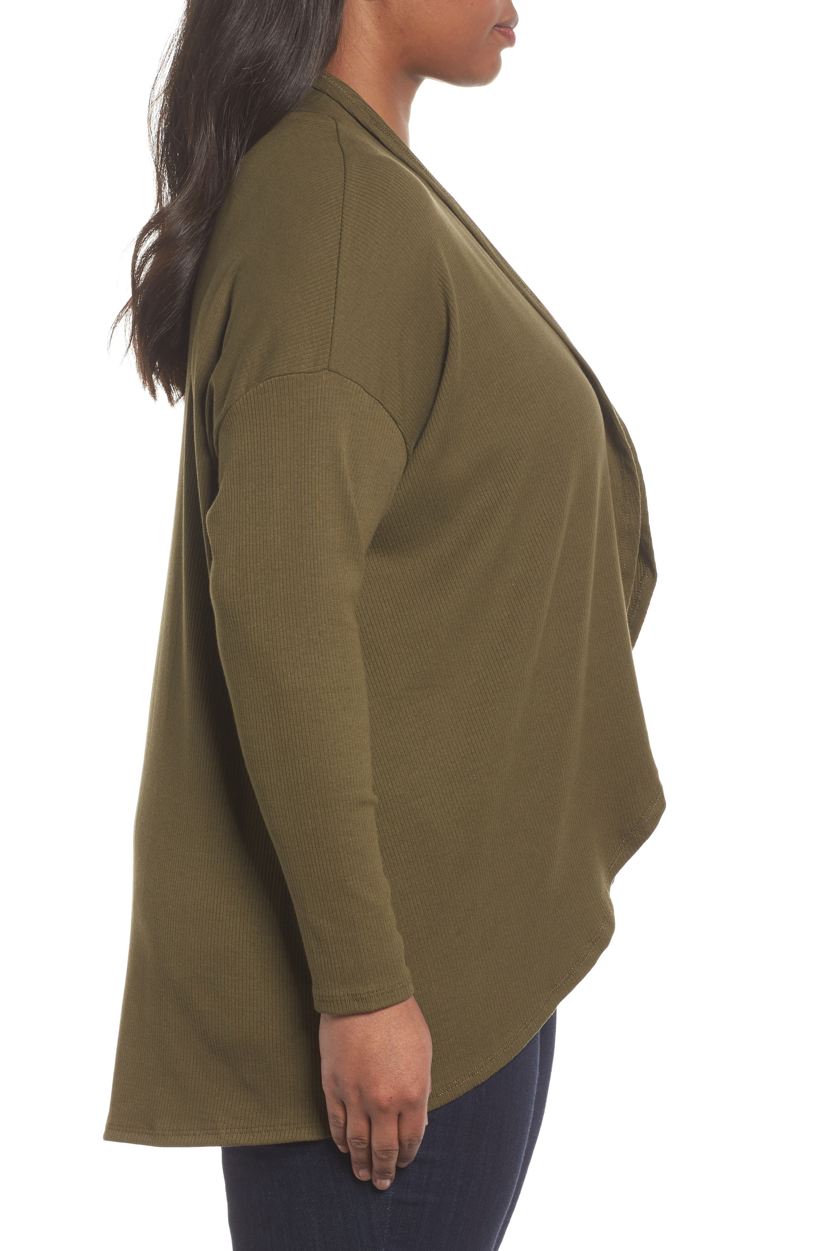 Ribbed Cocoon Cardigan,                             Alternate thumbnail 3, color,                             Olive Dark