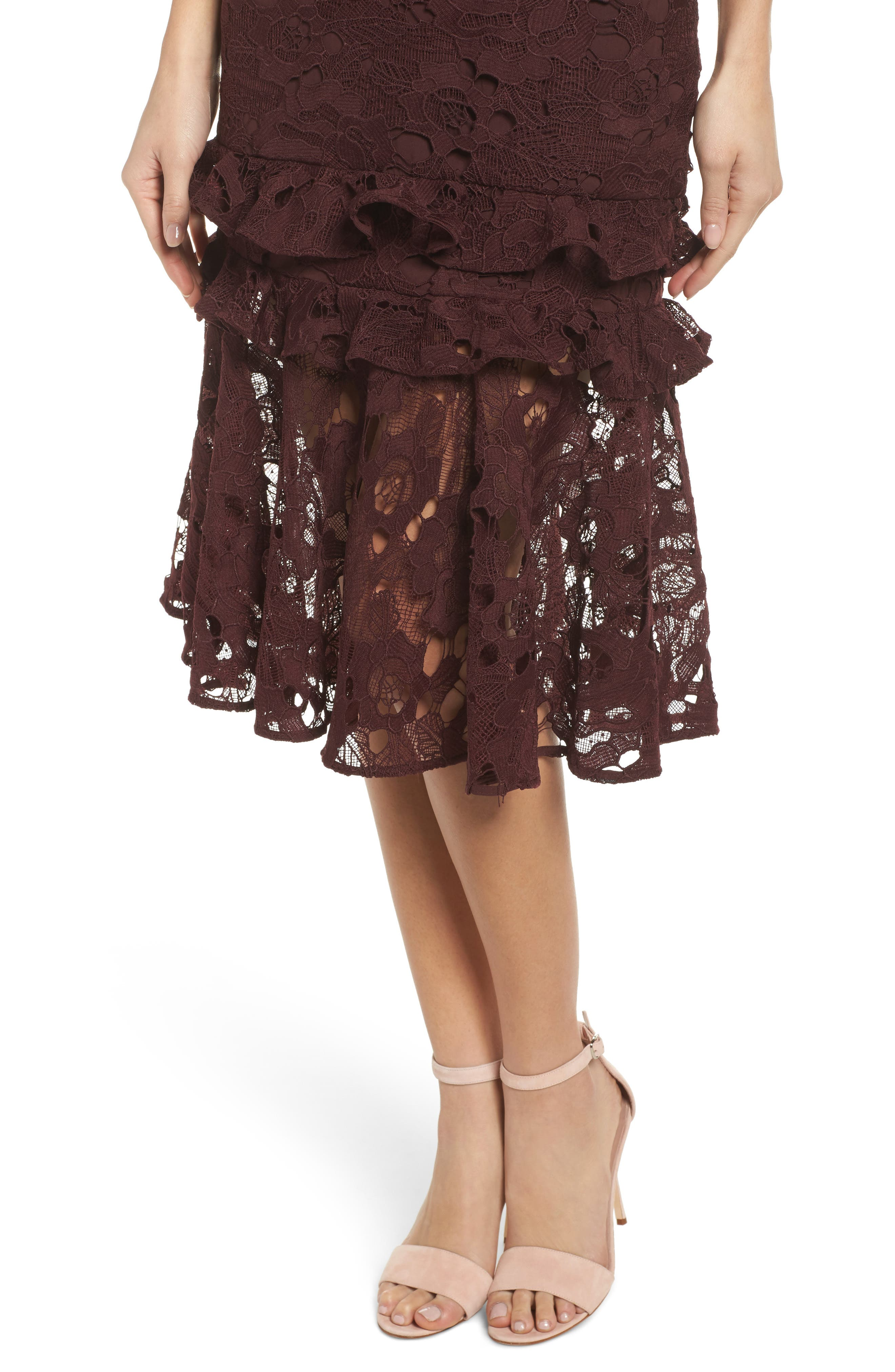 Enchantment Lace Midi Dress,                             Alternate thumbnail 4, color,                             Mahogany
