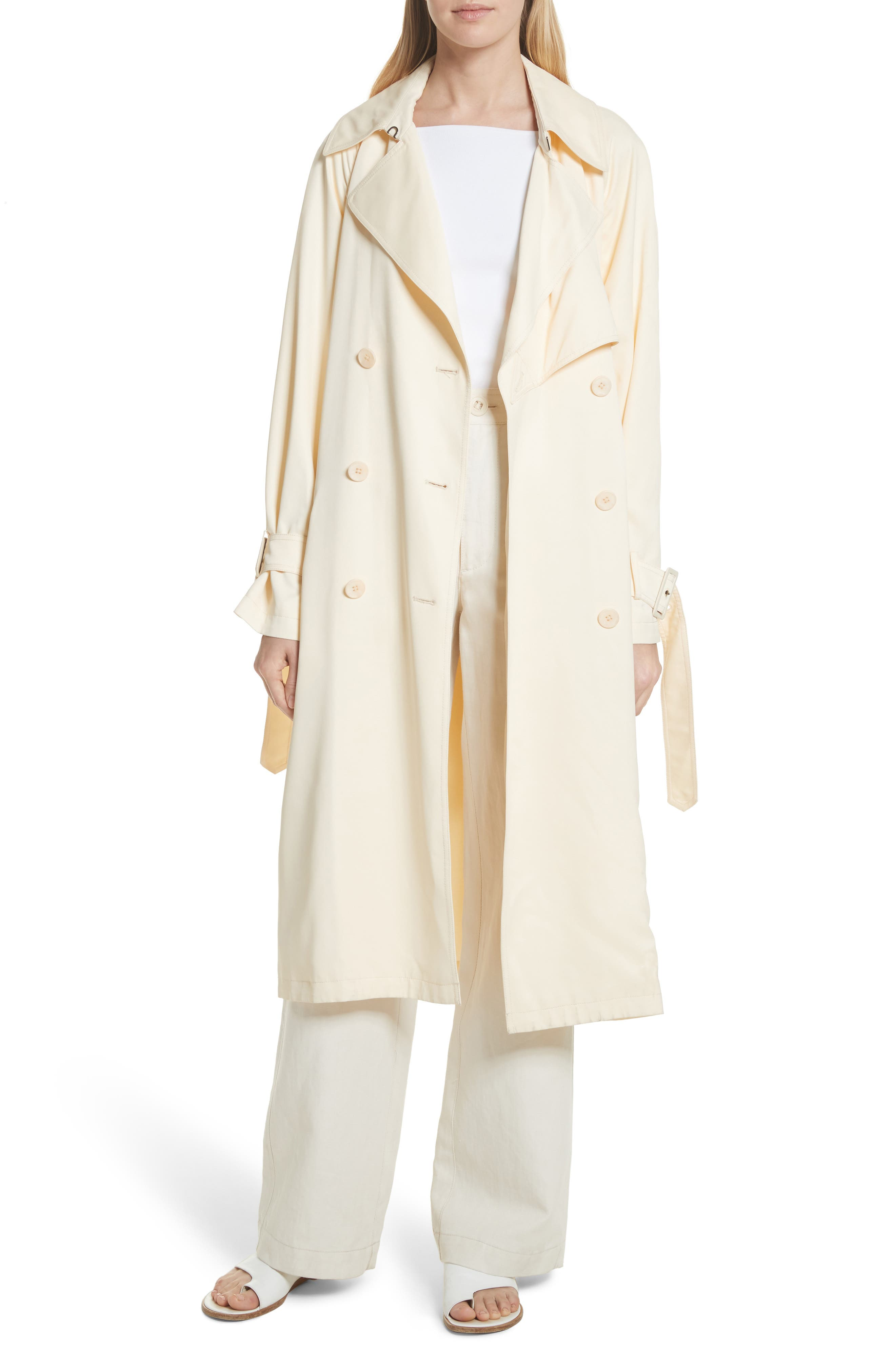 Drapey Trench Coat,                             Alternate thumbnail 4, color,                             Buttercream