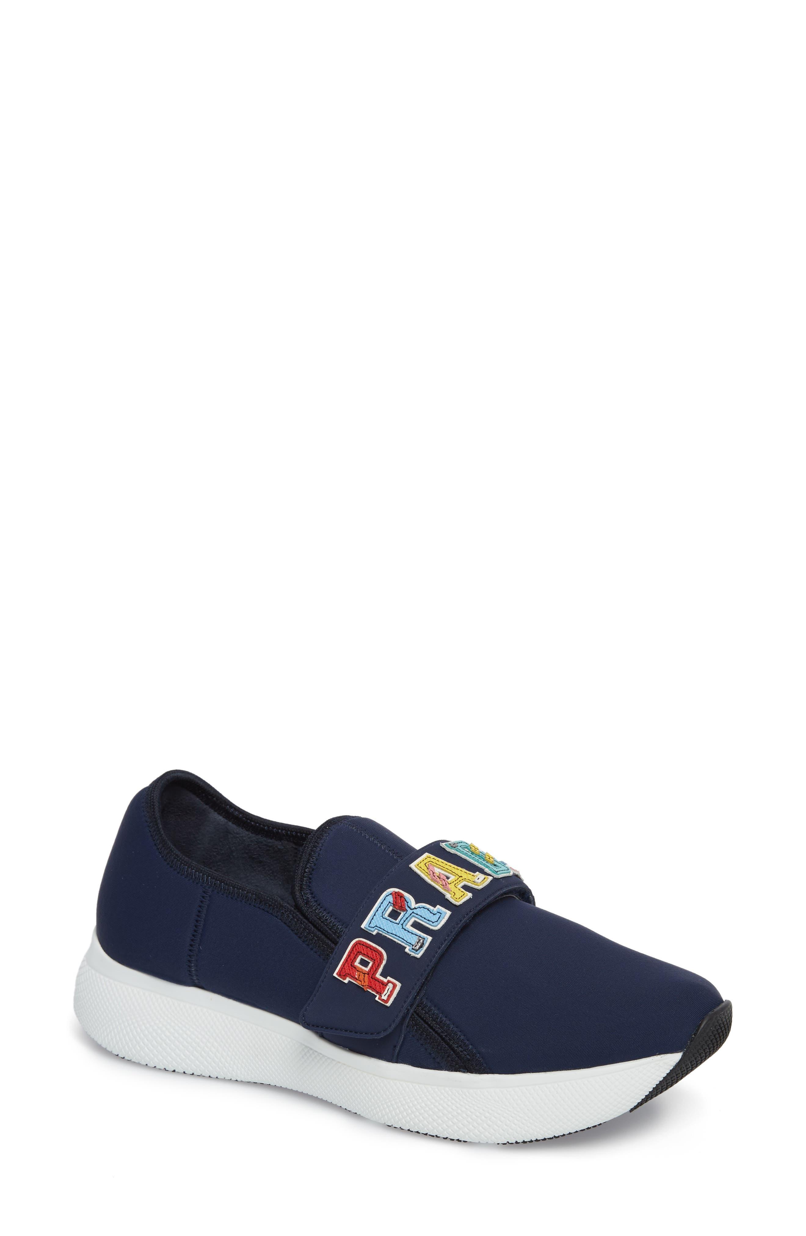 Alternate Image 1 Selected - Prada Logo Strap Low Top Sneaker (Women)