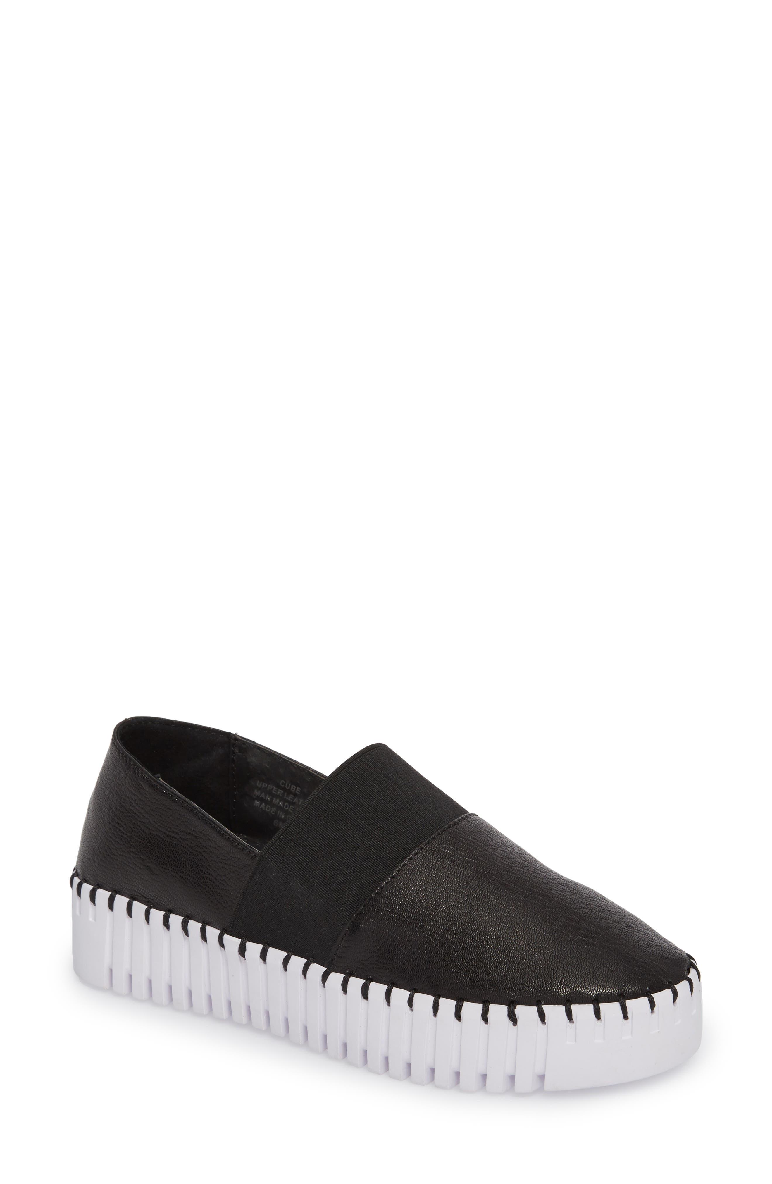 Cube Slip-On Platform Sneaker,                             Main thumbnail 1, color,                             Black Leather