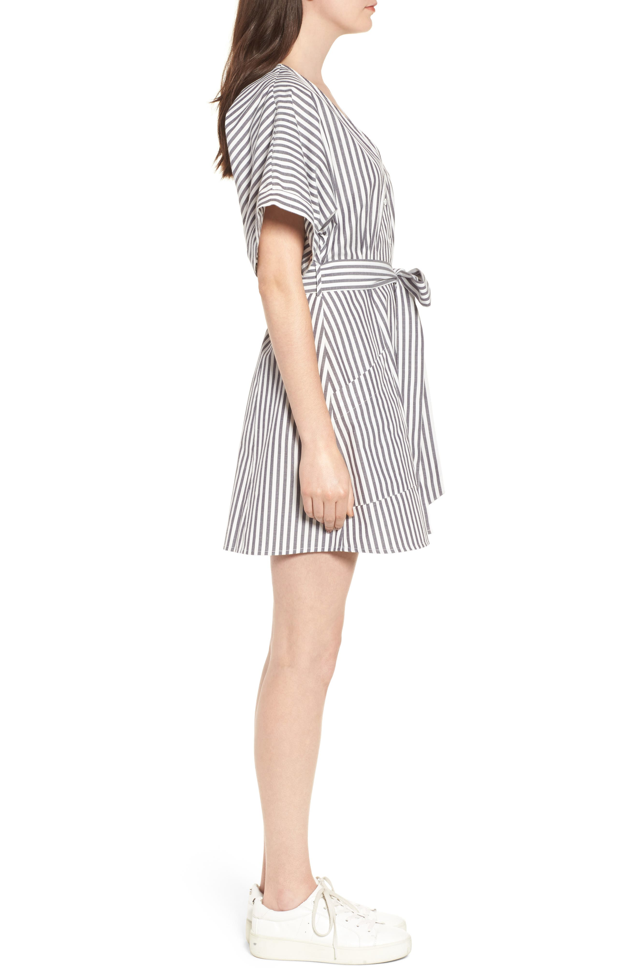 Button Front Dress,                             Alternate thumbnail 3, color,                             Black Jerry Stripe