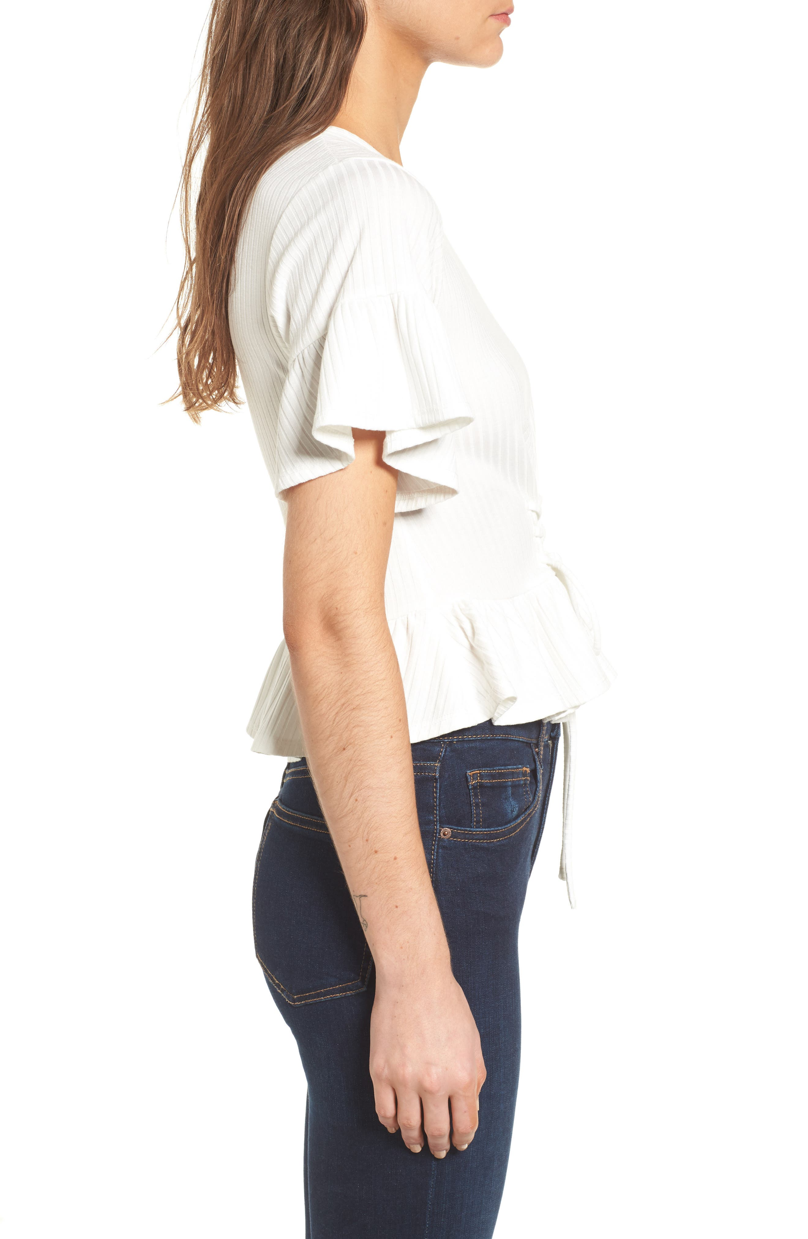 Lace-Up Tee,                             Alternate thumbnail 3, color,                             White