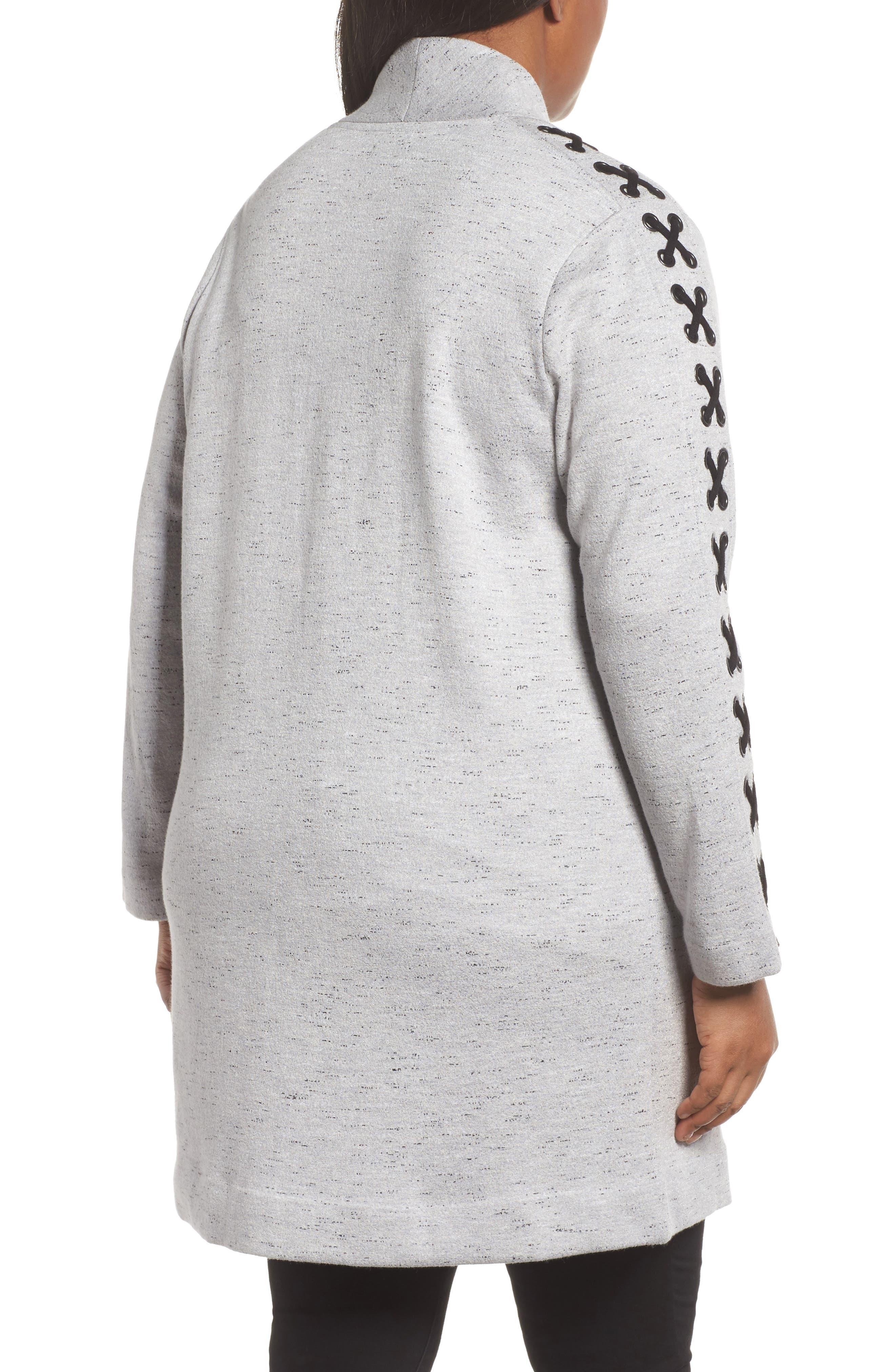 Crisscross Detail Knit Jacket,                             Alternate thumbnail 2, color,                             Granite
