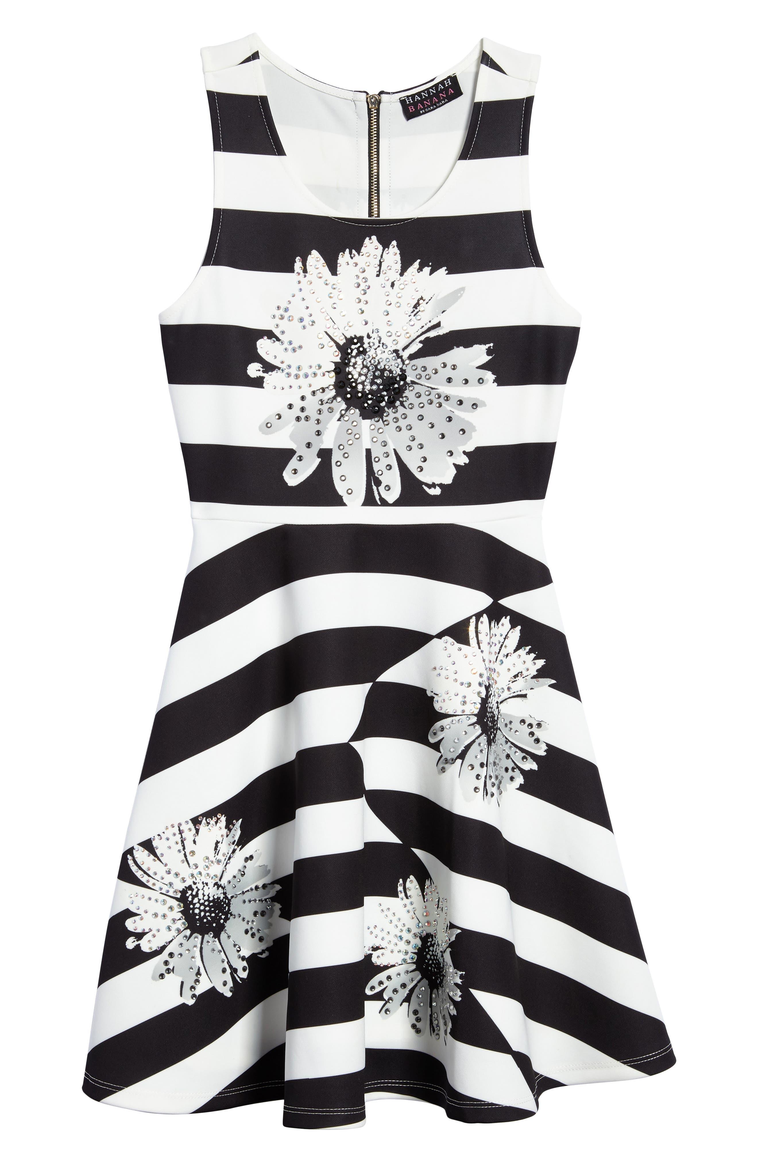Sunflower Glitz Dress,                         Main,                         color, Black White