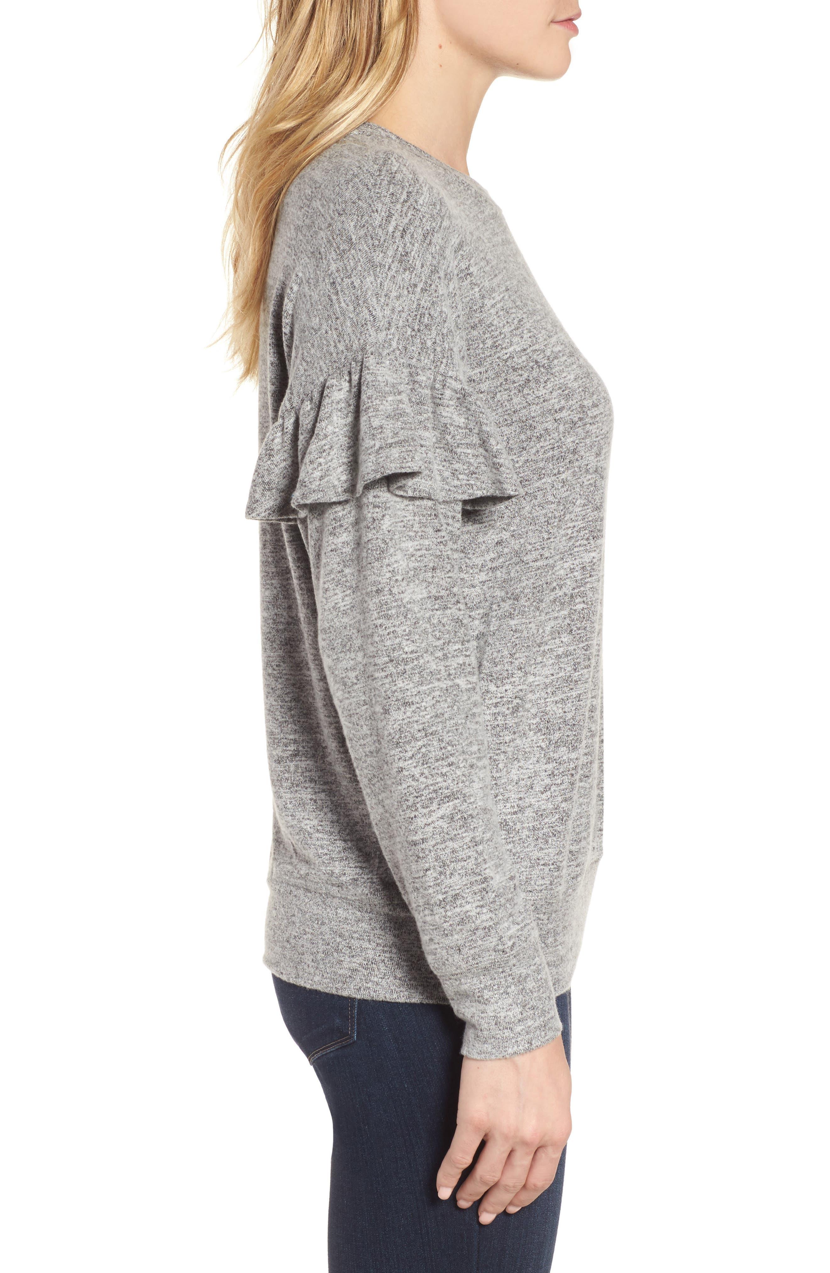Alternate Image 3  - Bobeau Ruffle Sleeve Sweatshirt