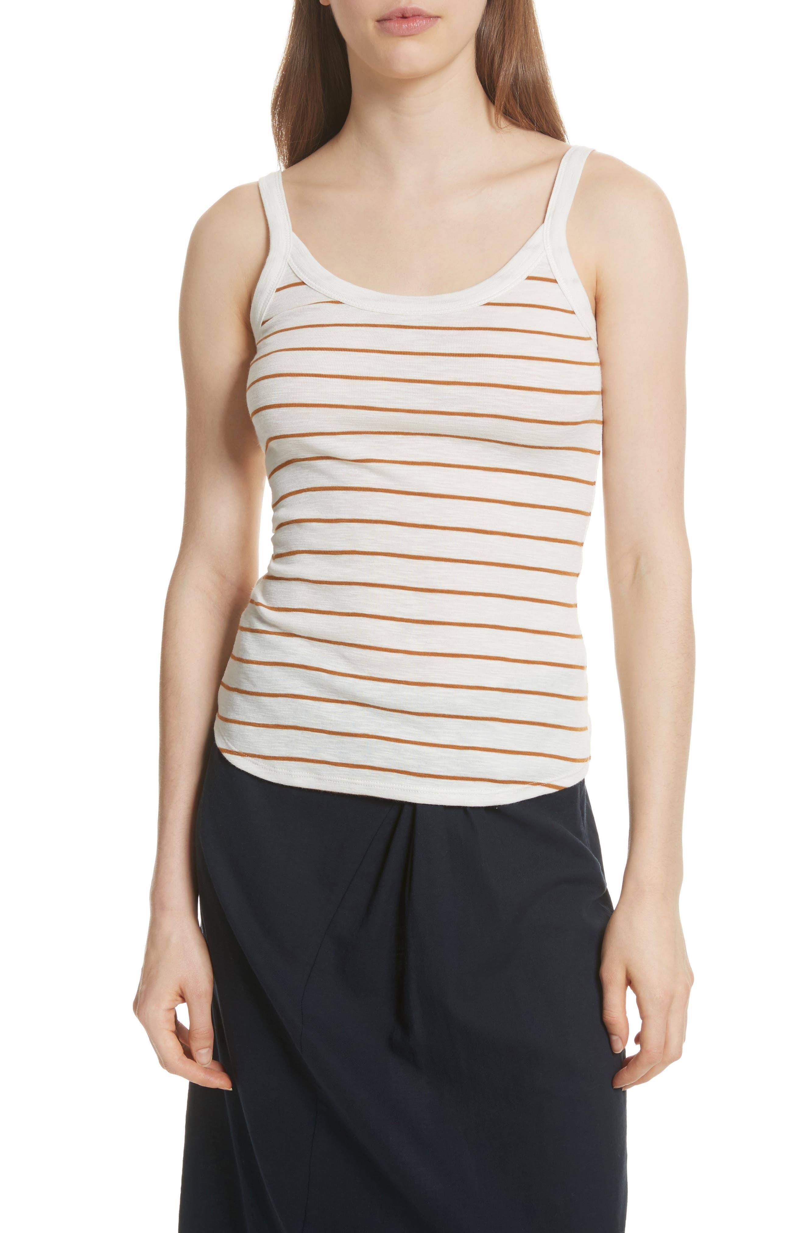 Scoop Neck Stripe Camisole,                             Main thumbnail 1, color,                             Vanilla/ Turmeric