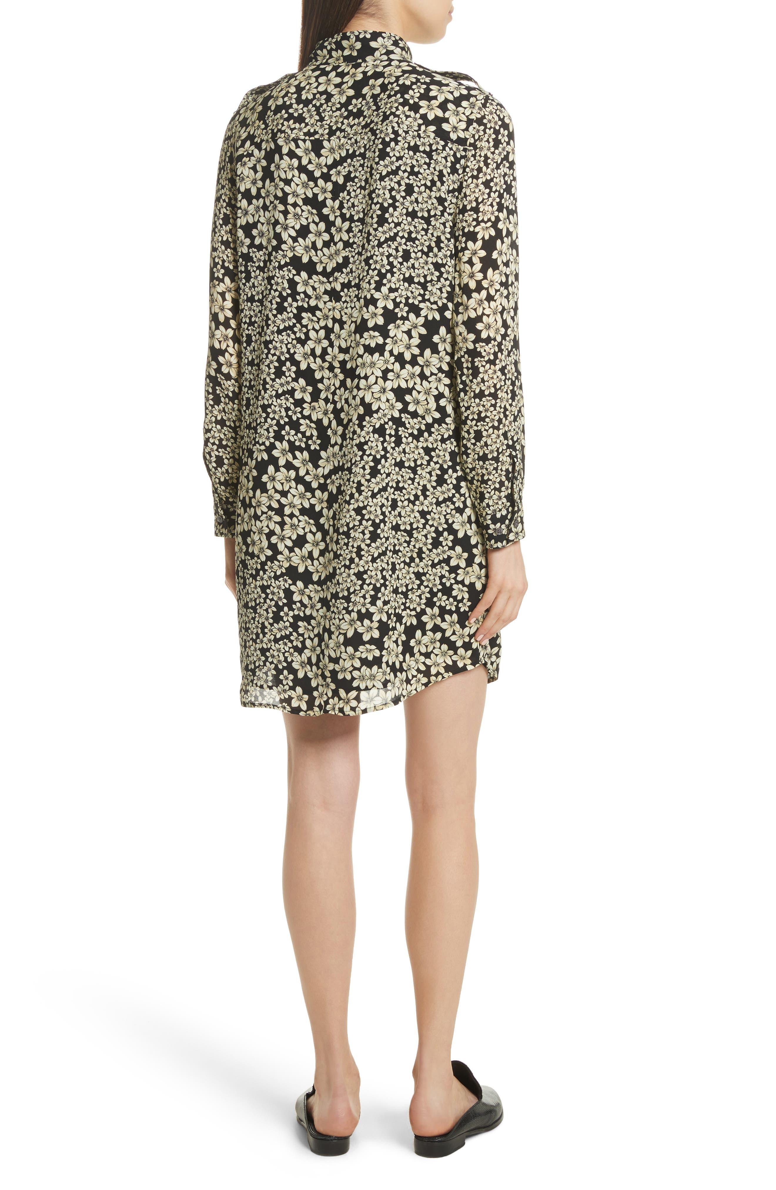 Freda Floral Print Silk Shirtdress,                             Alternate thumbnail 2, color,                             True Black Multi
