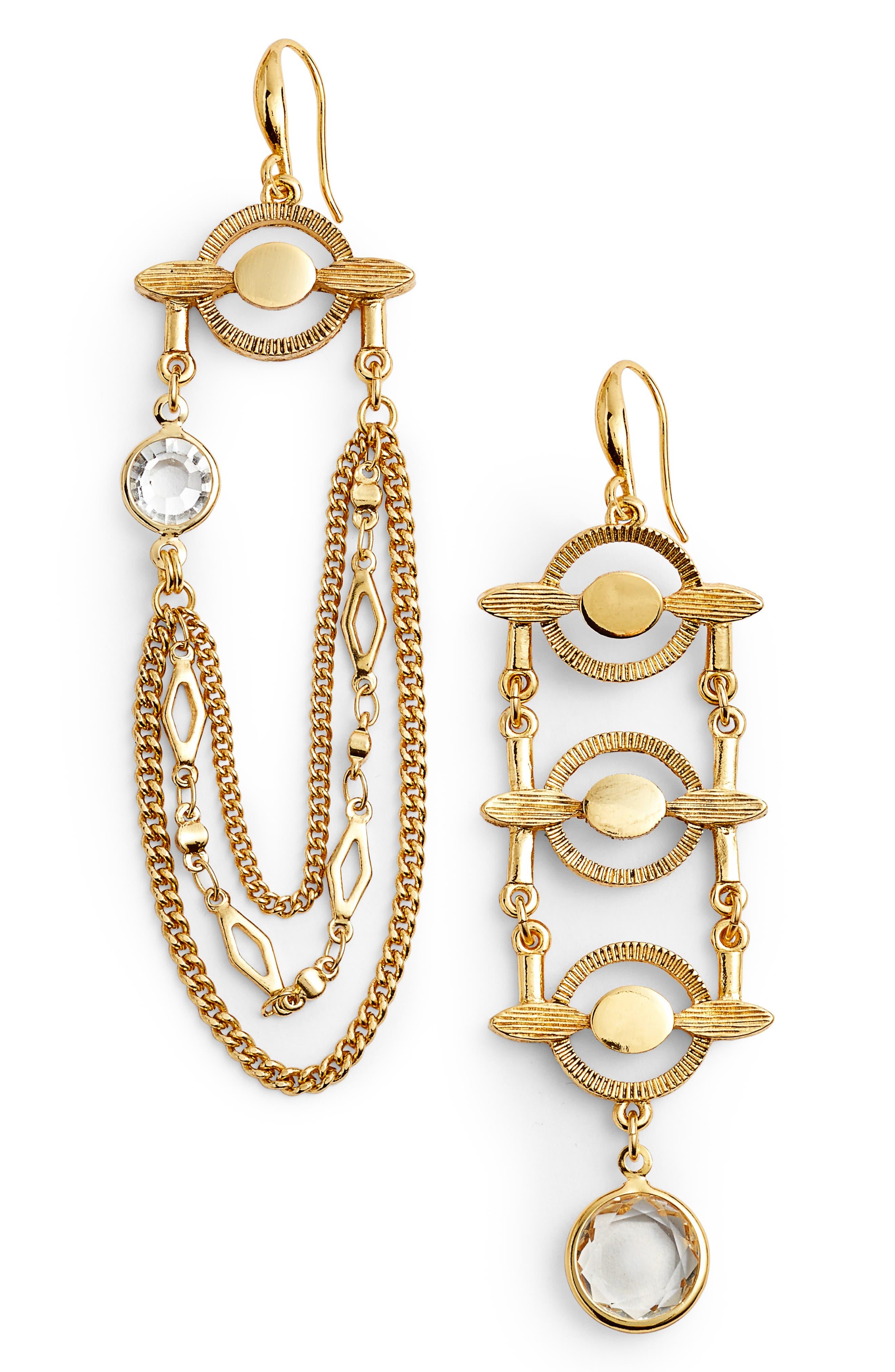 Asymmetrical Drop Earrings,                         Main,                         color, Gold