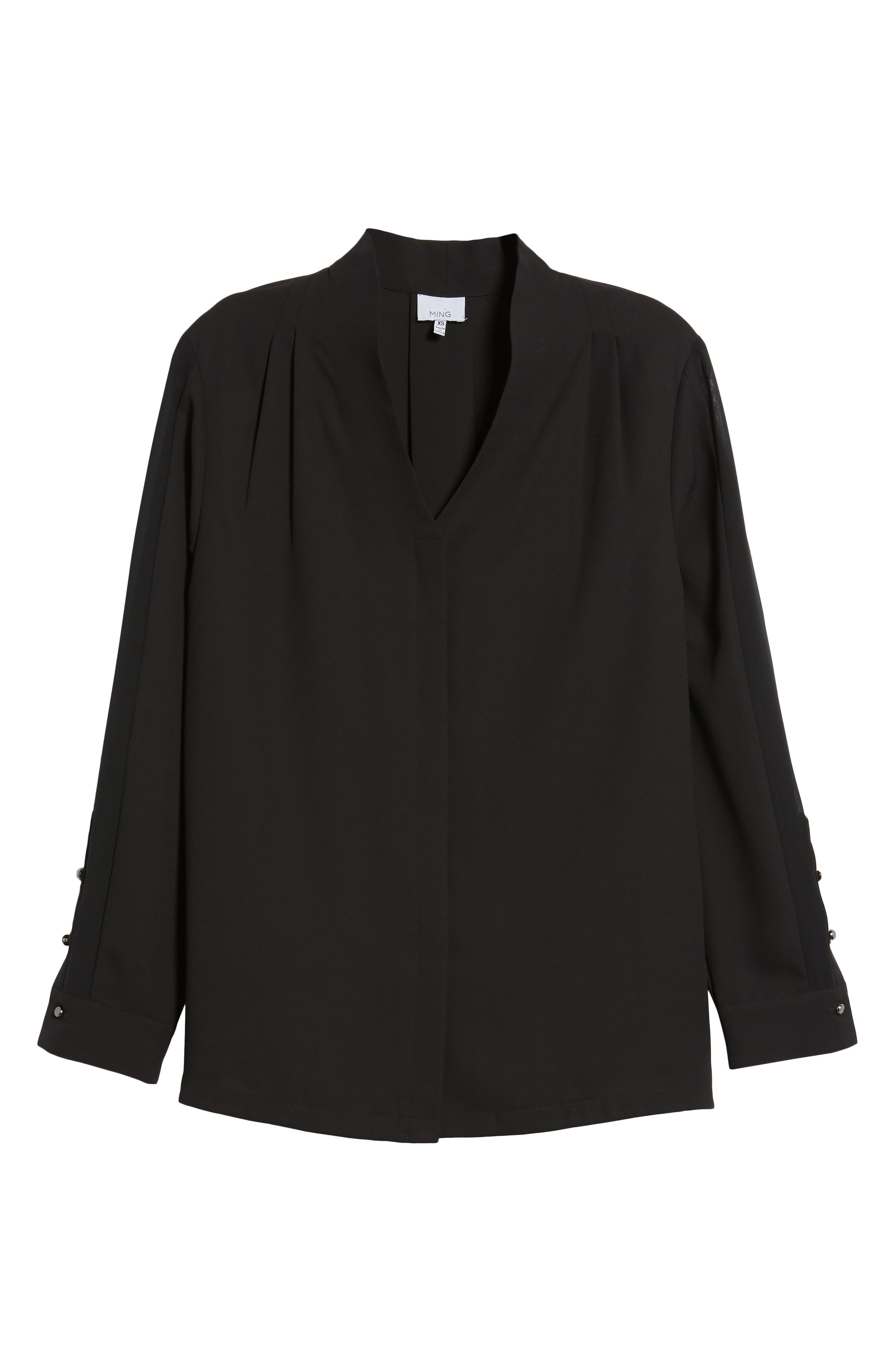 Split Collar Stripe Sleeve Blouse,                             Alternate thumbnail 6, color,                             Black