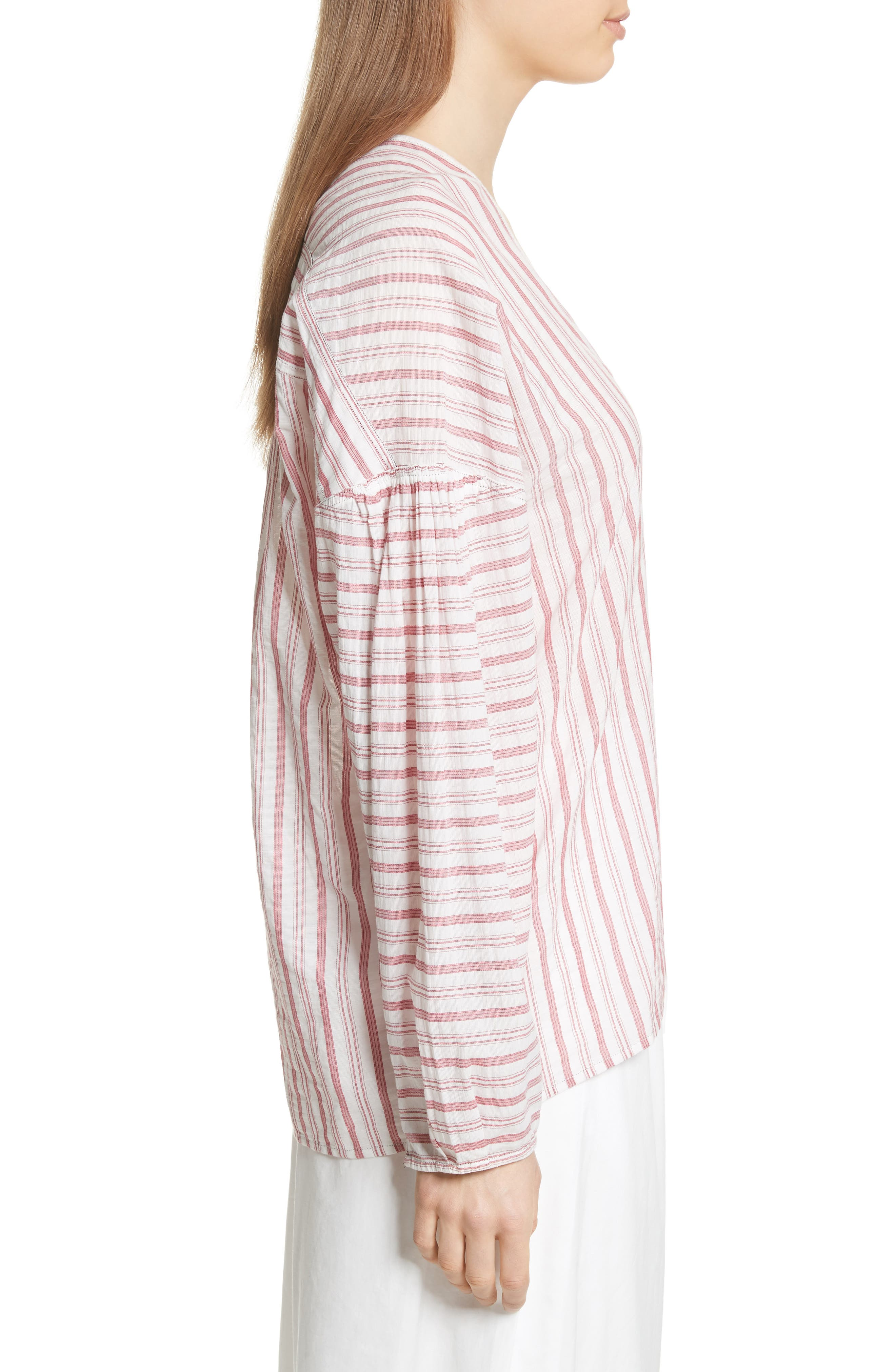 Stripe Cotton Top,                             Alternate thumbnail 3, color,                             Off White/ Poppy