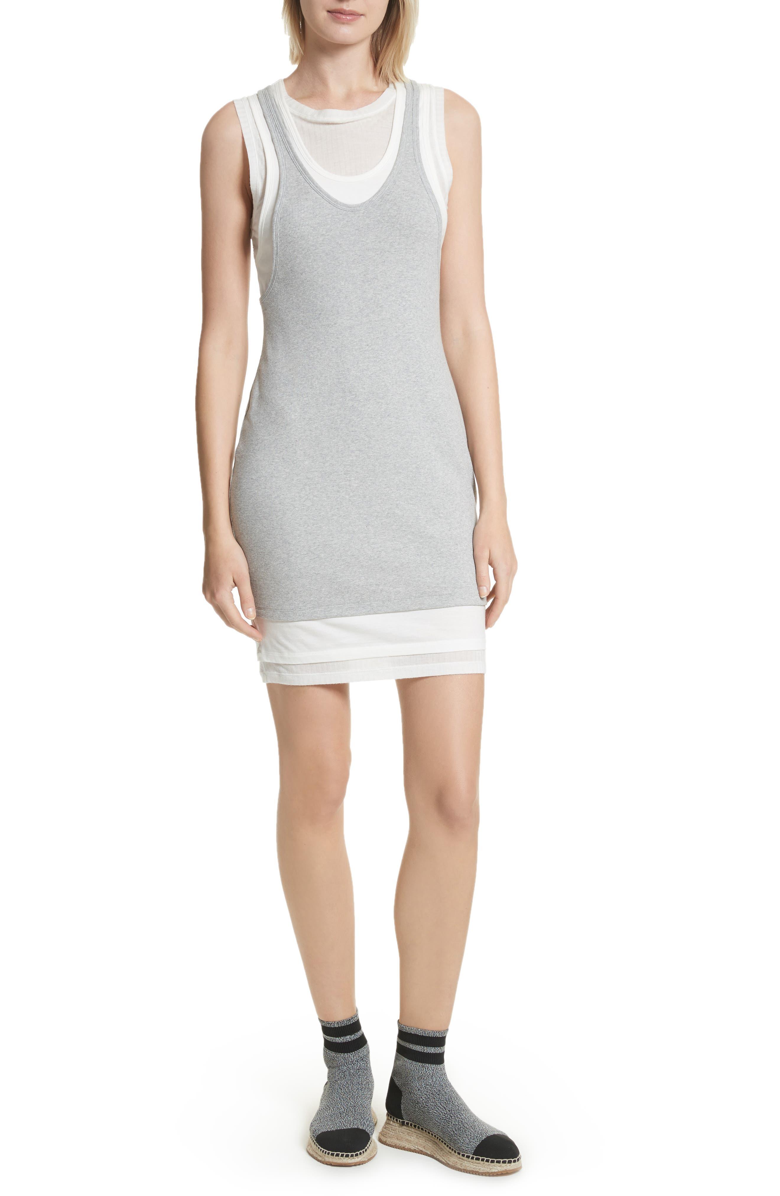 Alexander Wang Layered Mixed Media Dress,                         Main,                         color, Heather Grey Off White