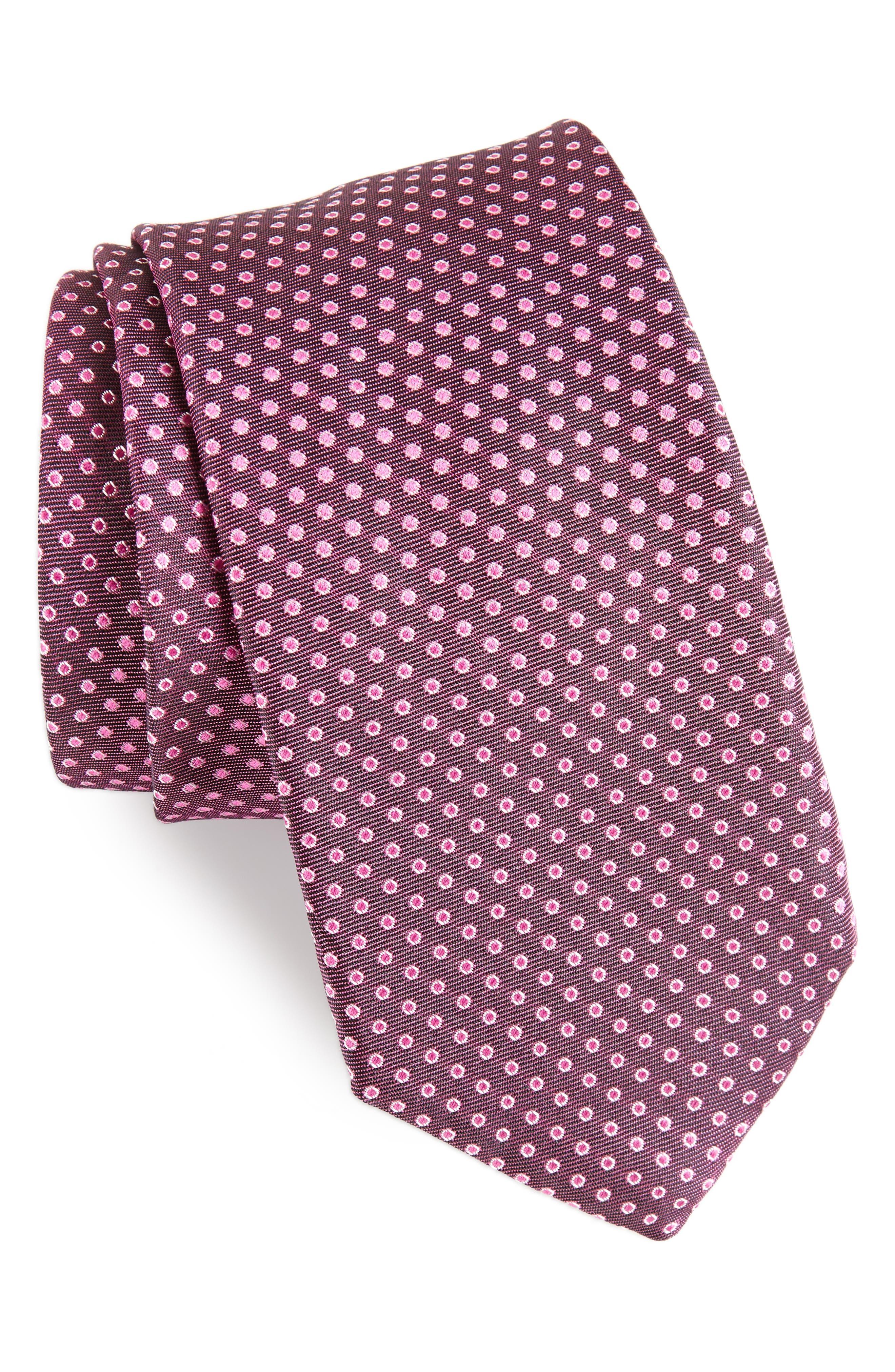 Dot Silk Tie,                         Main,                         color, Plum