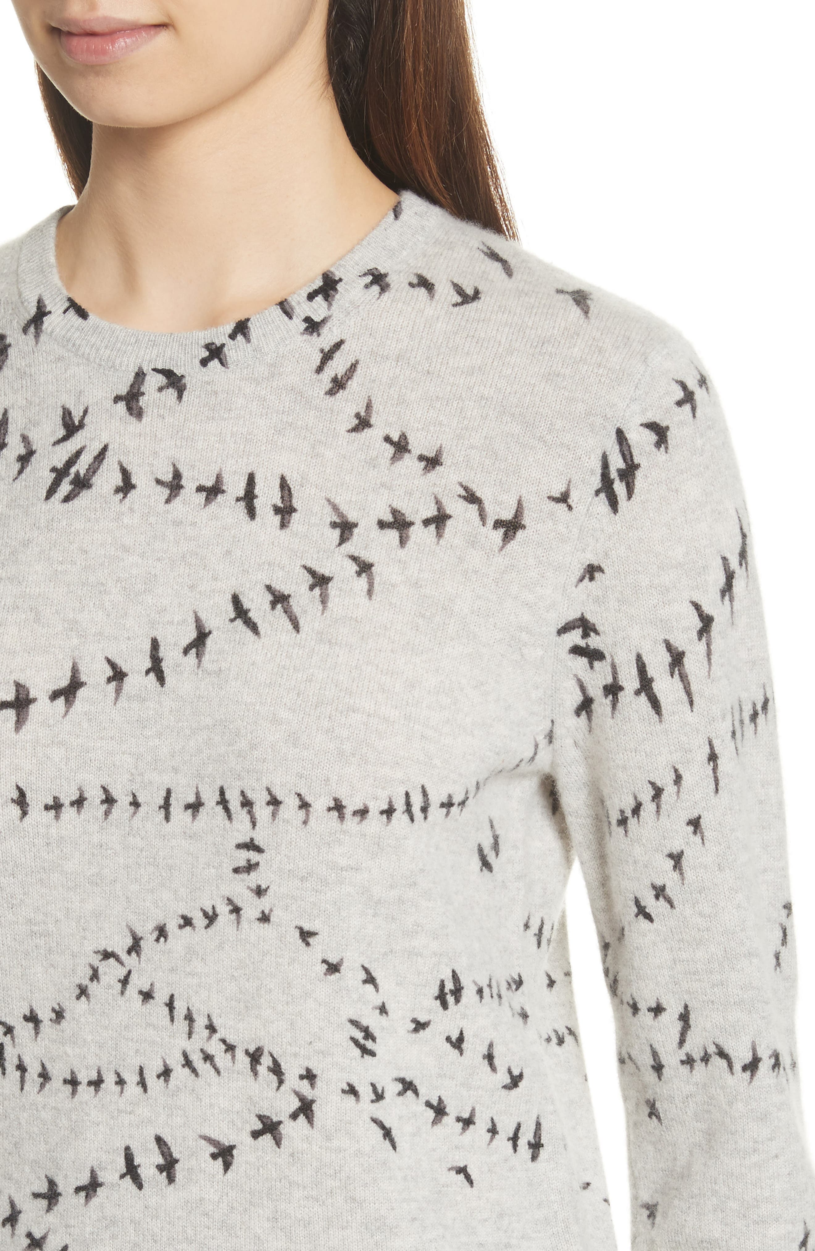 Shane Bird Print Cashmere Sweater,                             Alternate thumbnail 4, color,                             Light Heather Grey Multi