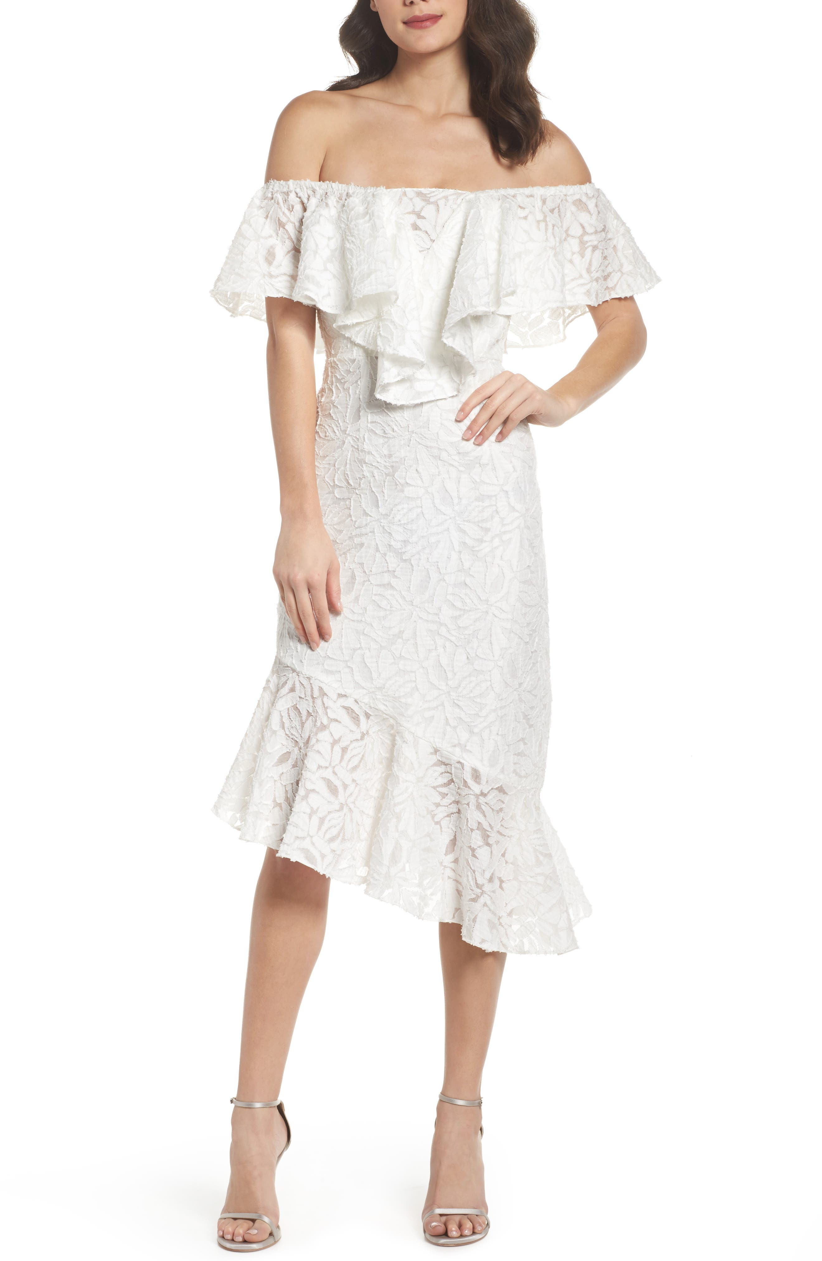 C/MEO More to Give Off the Shoulder Midi Dress