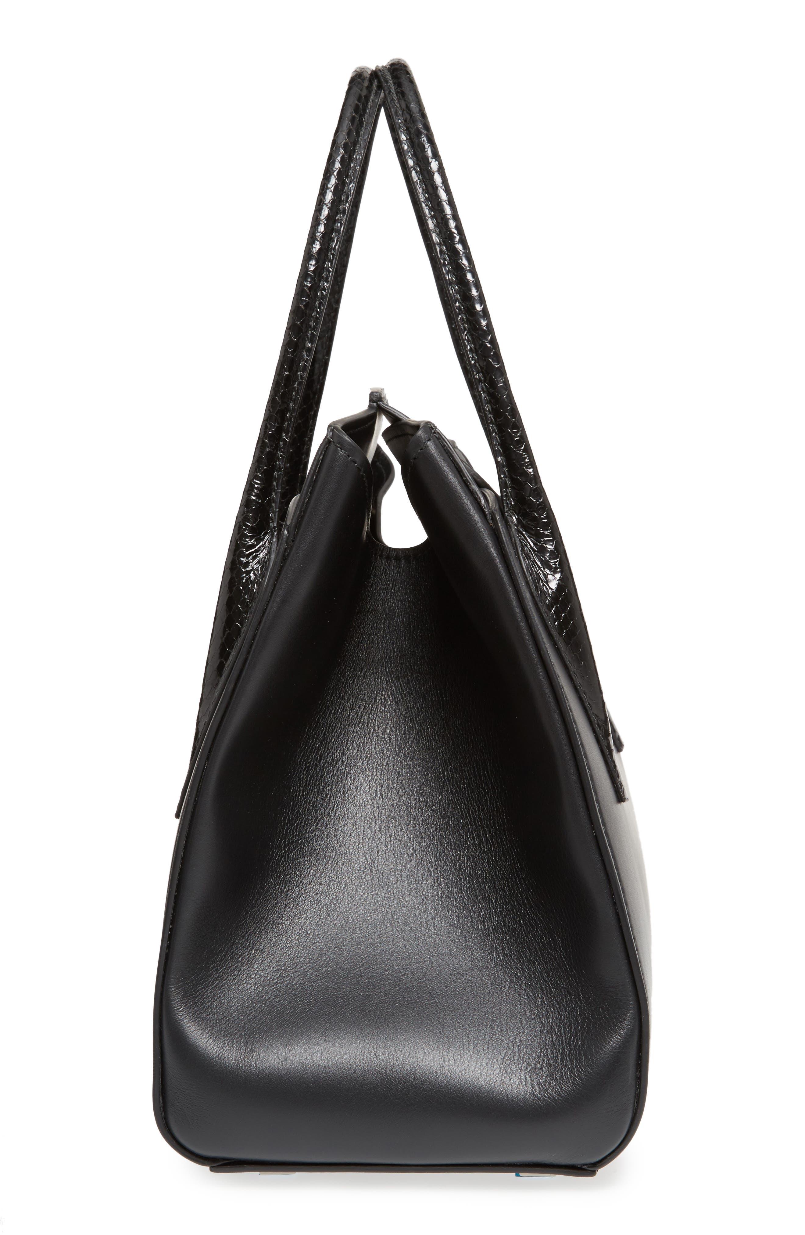 Large Bancroft Leather Top Handle Satchel,                             Alternate thumbnail 5, color,                             Black