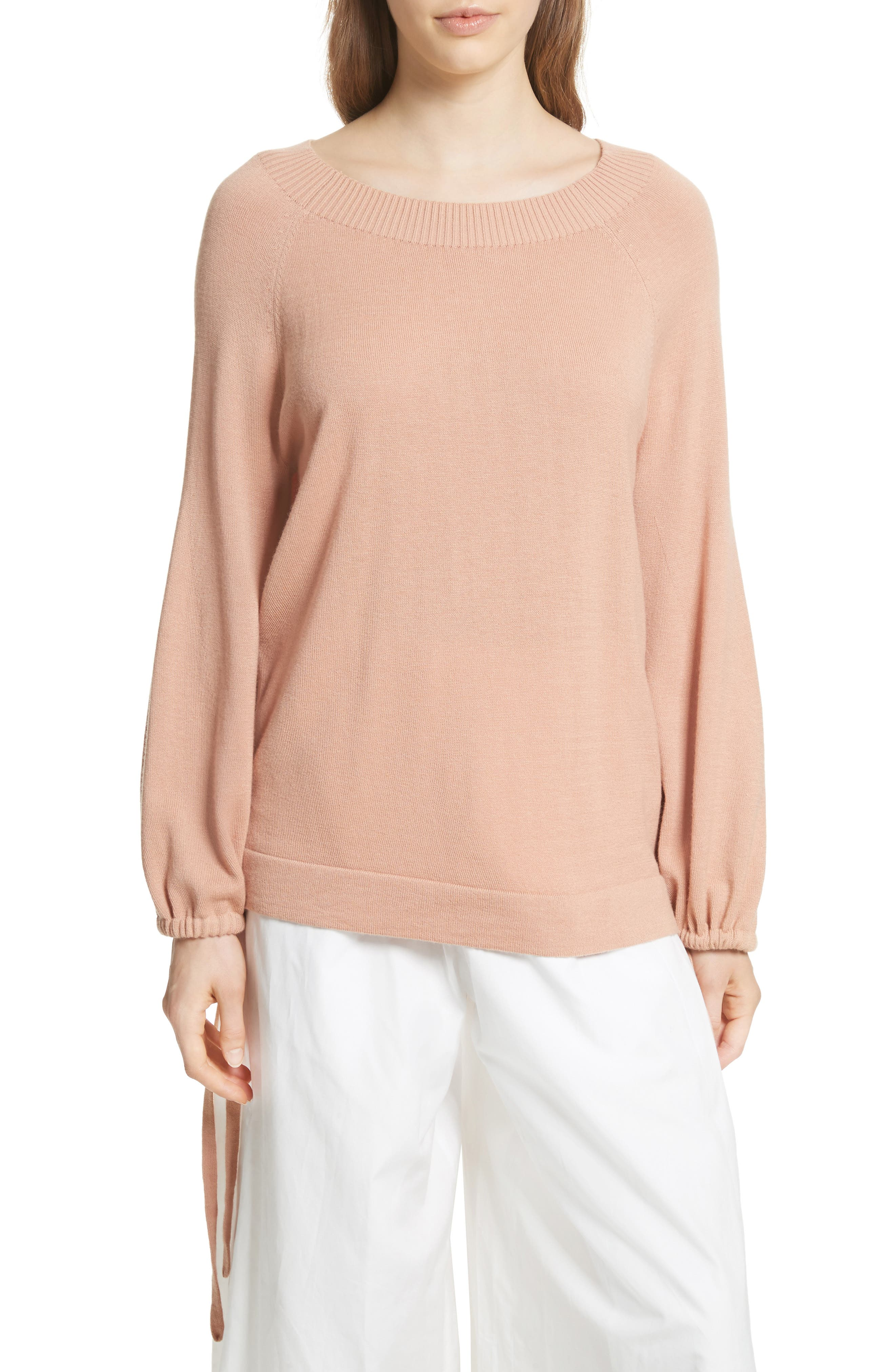 Scrunch Sleeve Cashmere Sweater,                             Main thumbnail 1, color,                             Blush