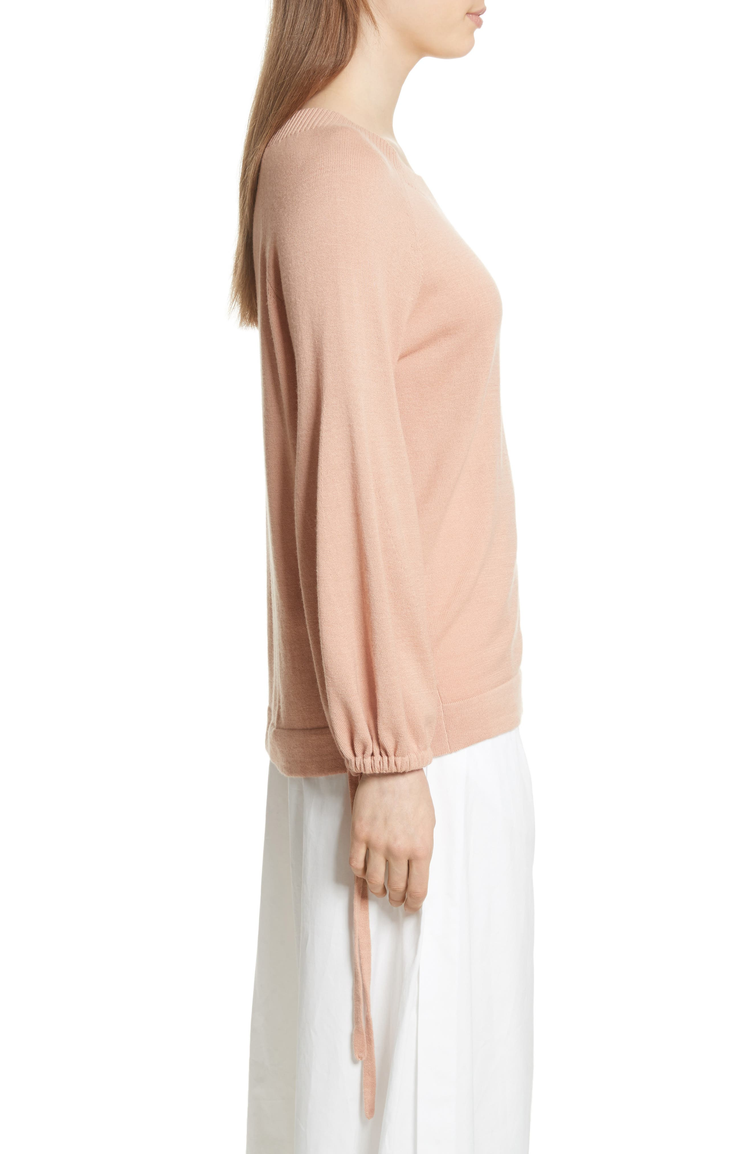 Scrunch Sleeve Cashmere Sweater,                             Alternate thumbnail 3, color,                             Blush