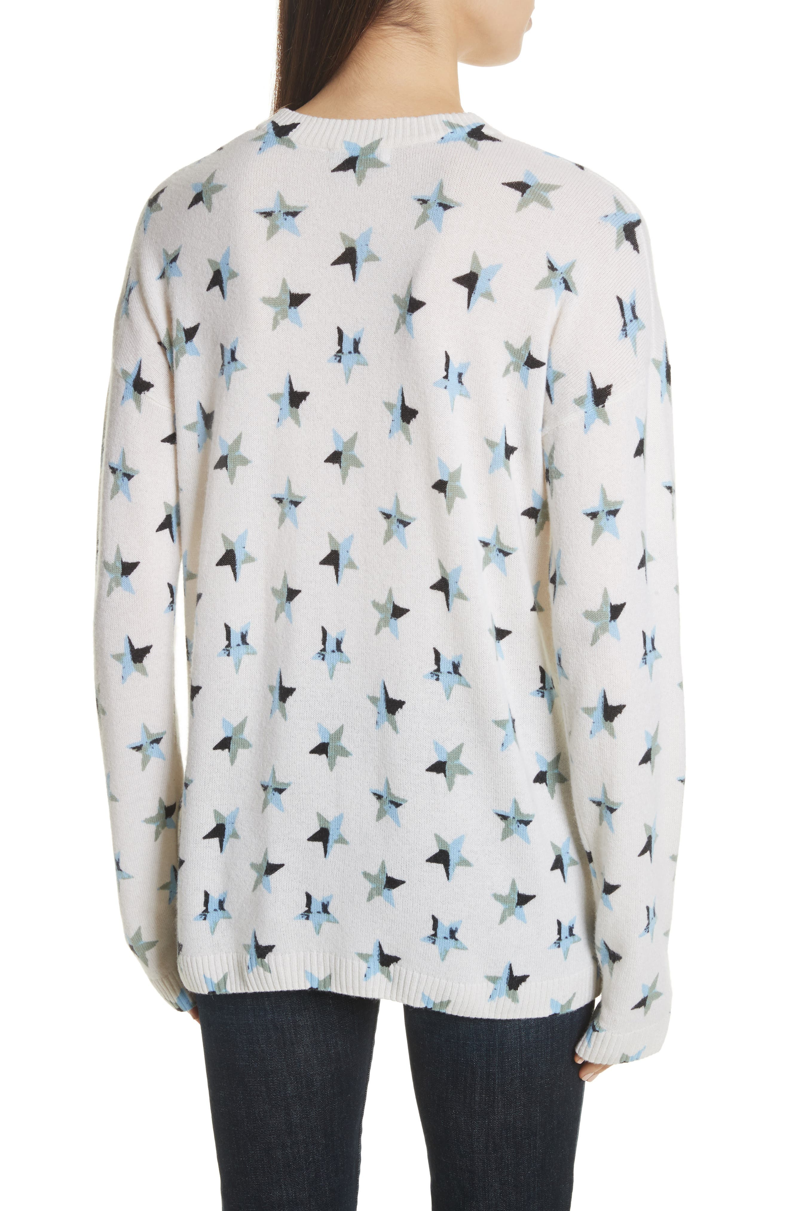Bryce Star Print Cashmere Sweater,                             Alternate thumbnail 2, color,                             Ivory Multi