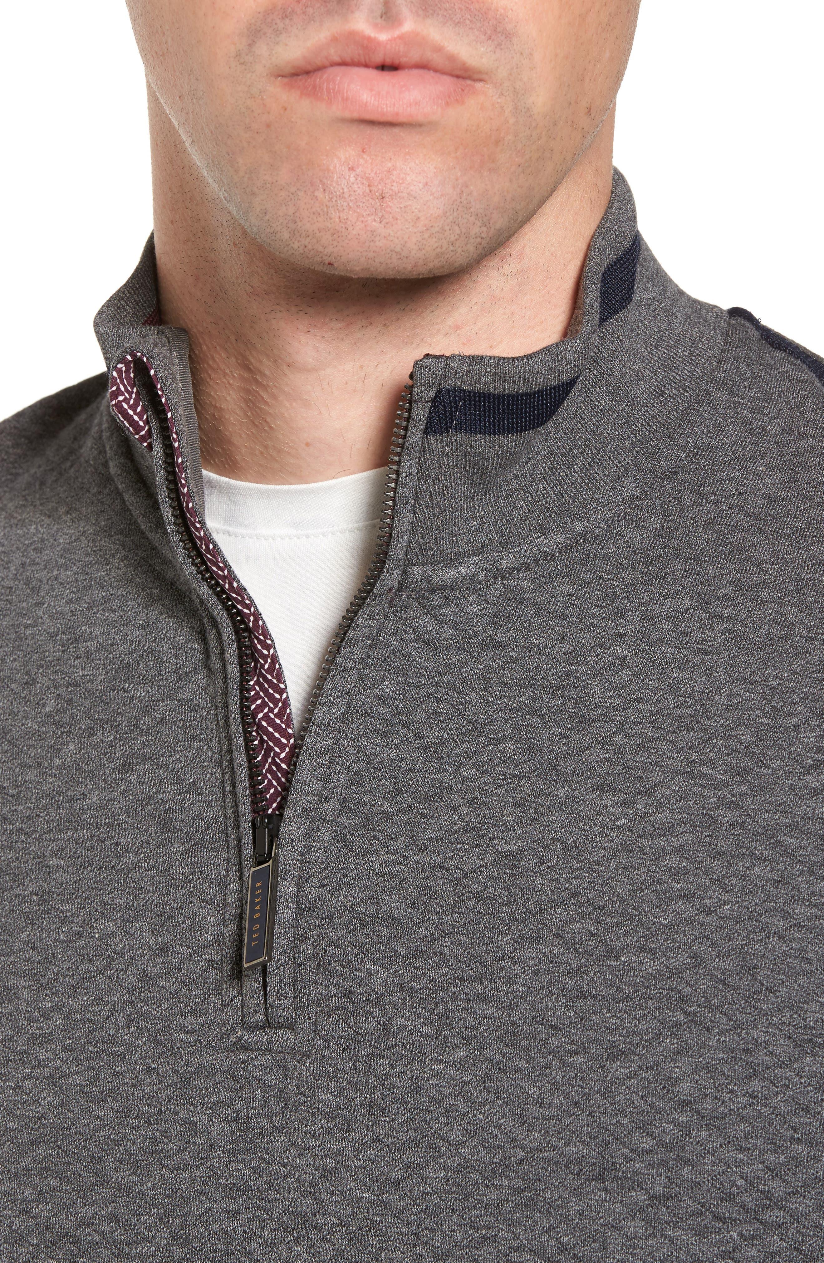 Sidney Quilted Quarter Zip Sweatshirt,                             Alternate thumbnail 4, color,                             Charcaol