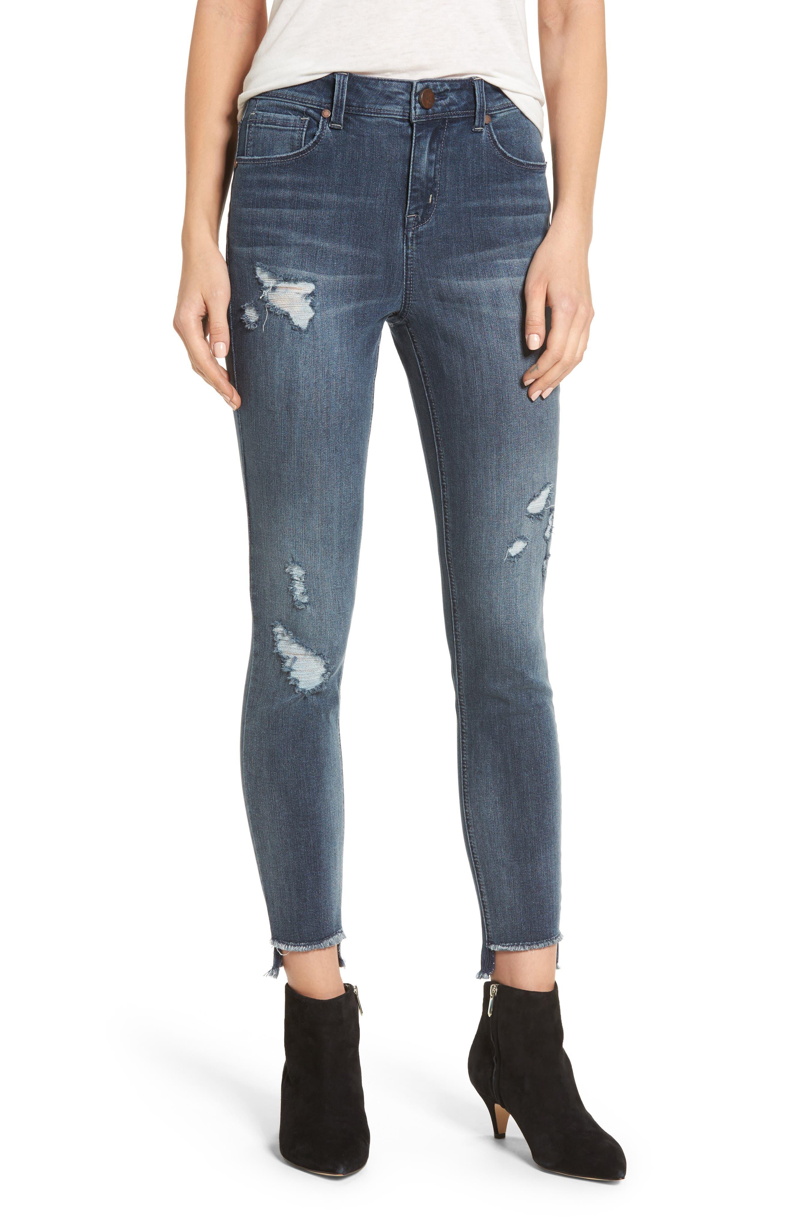 Main Image - 1822 Denim Ripped Step Hem Skinny Jeans (Goo)