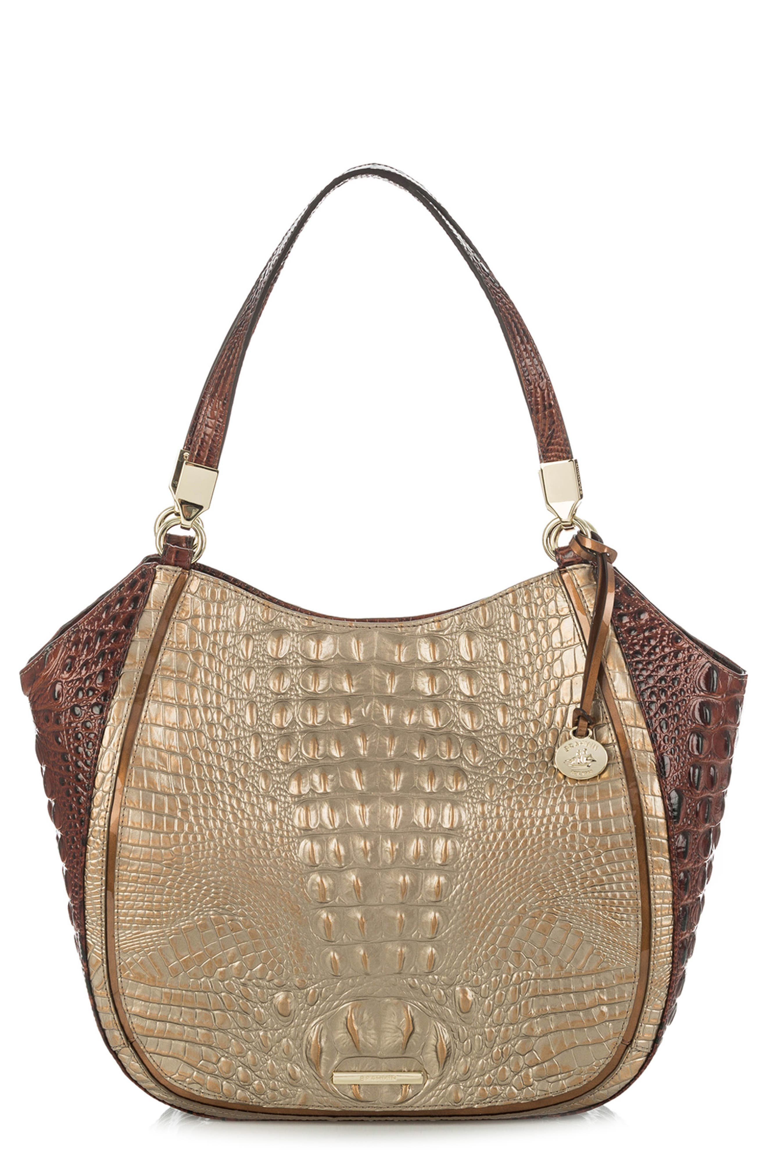Marianna Croc Embossed Leather Tote,                             Main thumbnail 1, color,                             Rose Gold