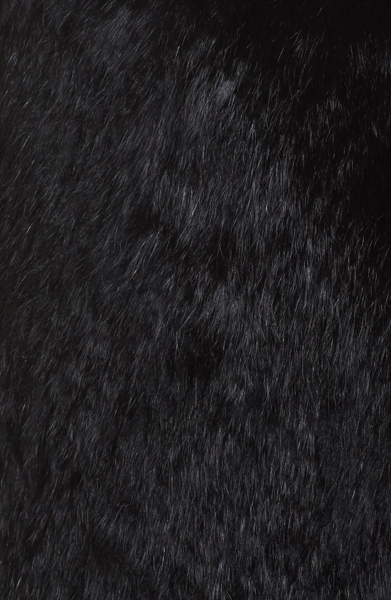 Genuine Rabbit Fur Vest,                             Alternate thumbnail 5, color,                             Black