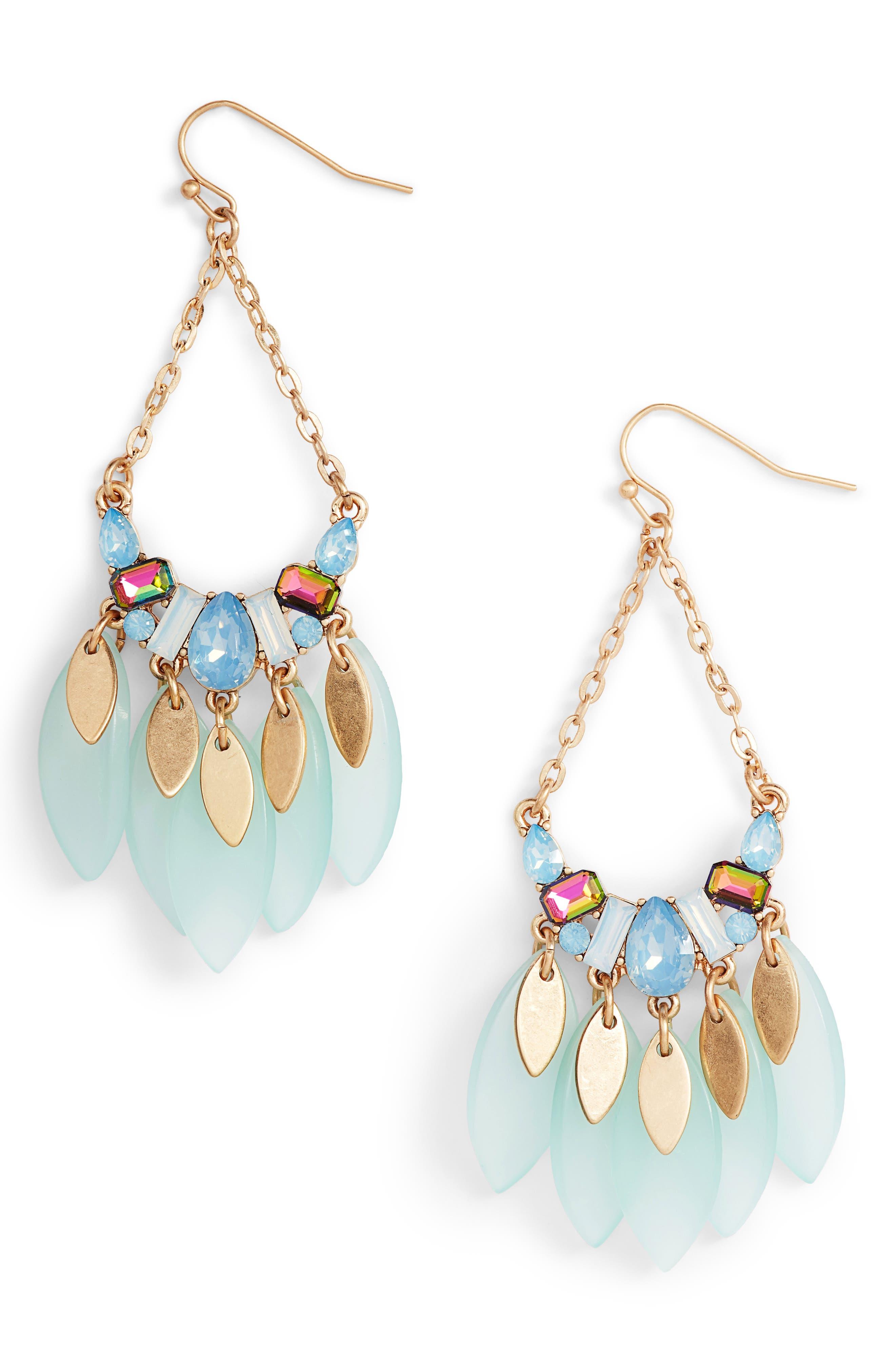Petal Teardrop Earrings,                             Main thumbnail 1, color,                             Blue Opal- Gold
