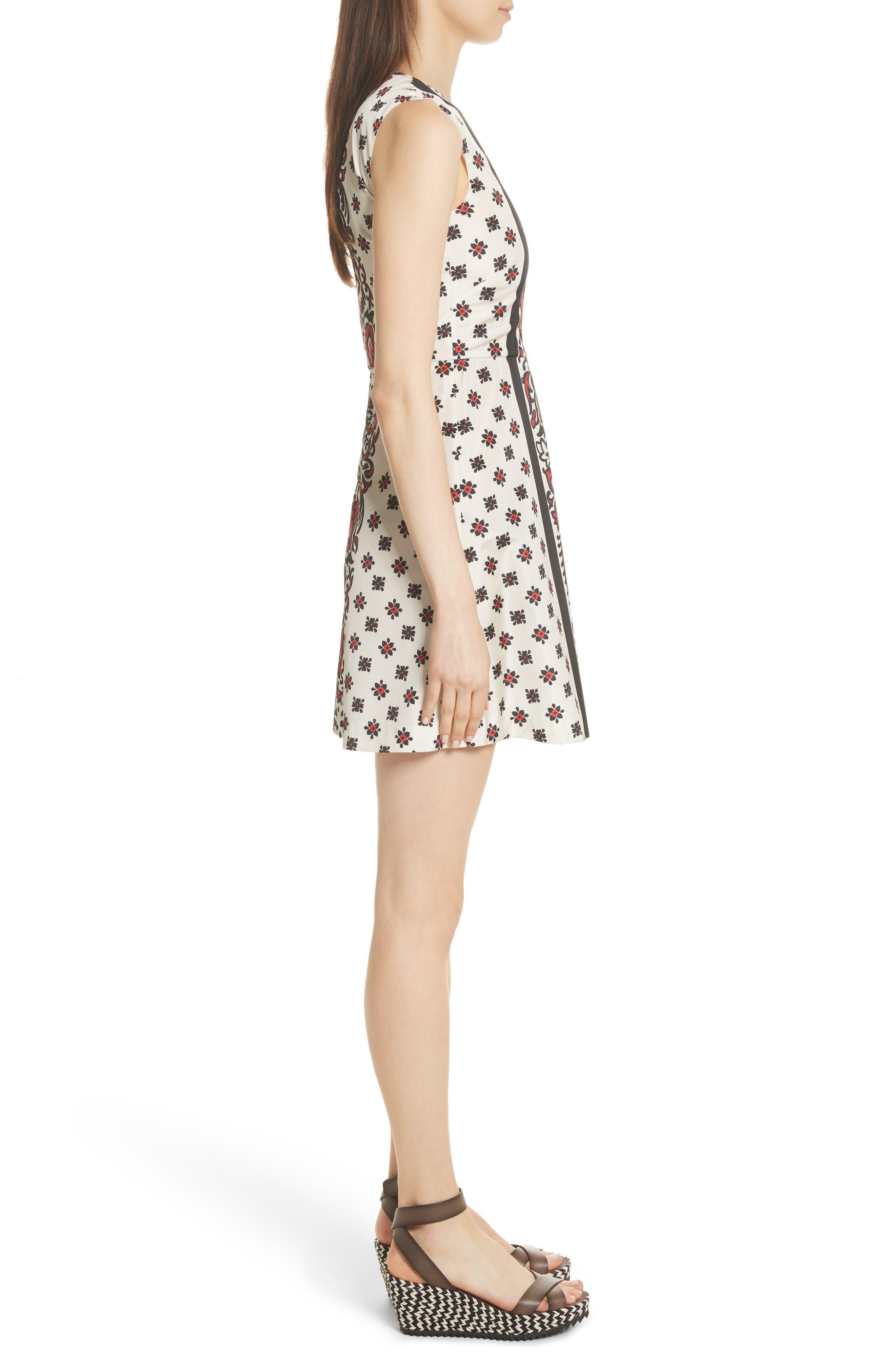 Print A-Line Dress,                             Alternate thumbnail 3, color,                             Cherry