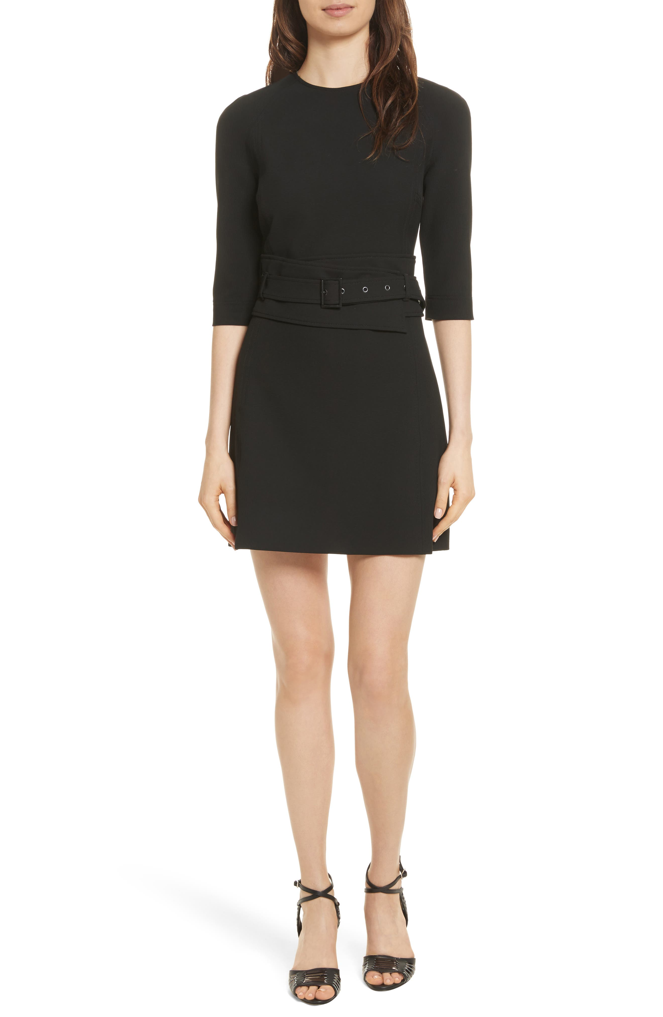 Nora Belted Dress,                         Main,                         color, Black