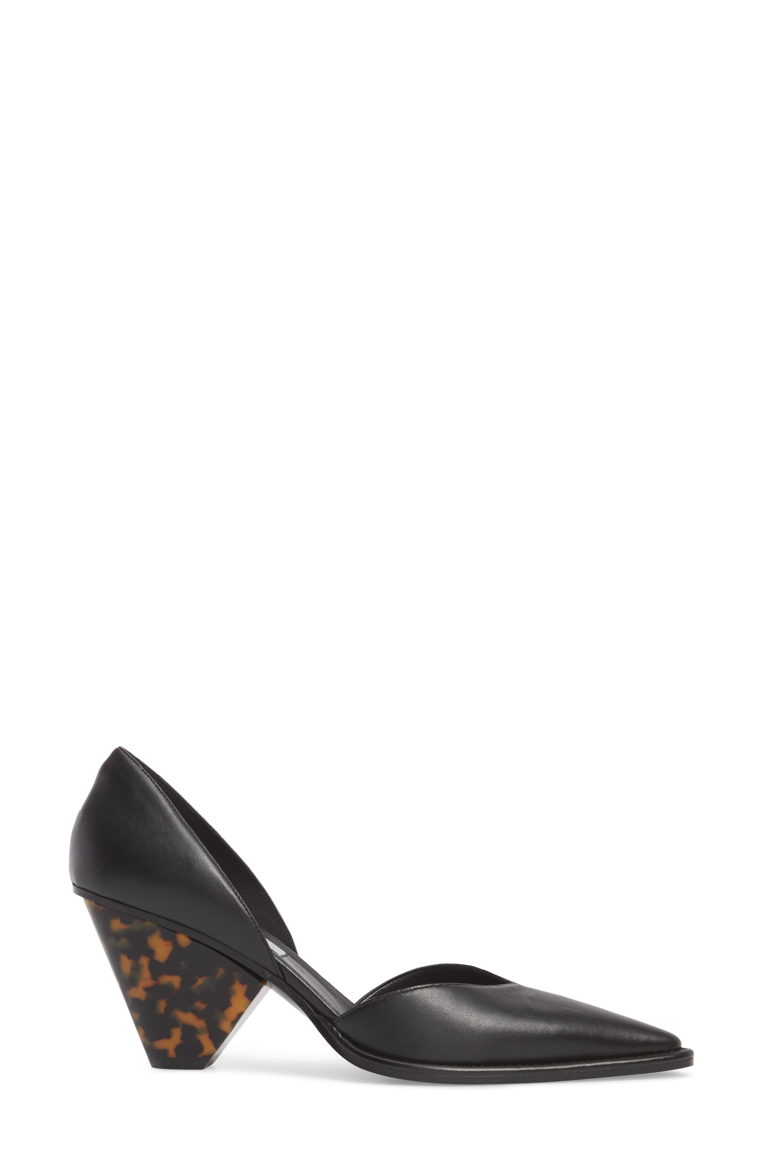 Tortoiseshell Heel d'Orsay Pump,                             Alternate thumbnail 3, color,                             Black
