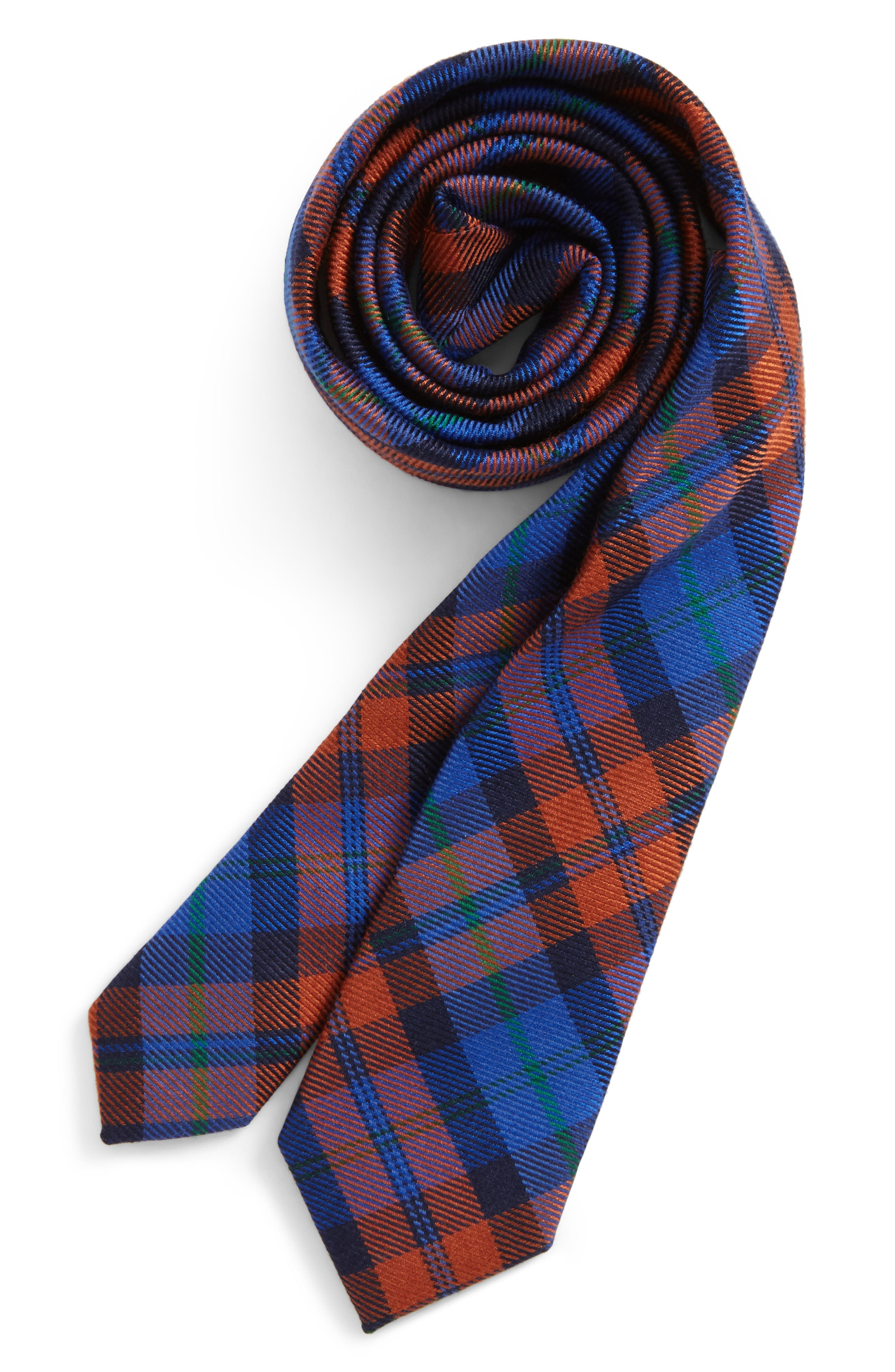 Plaid Wool & Silk Tie,                         Main,                         color, Orange
