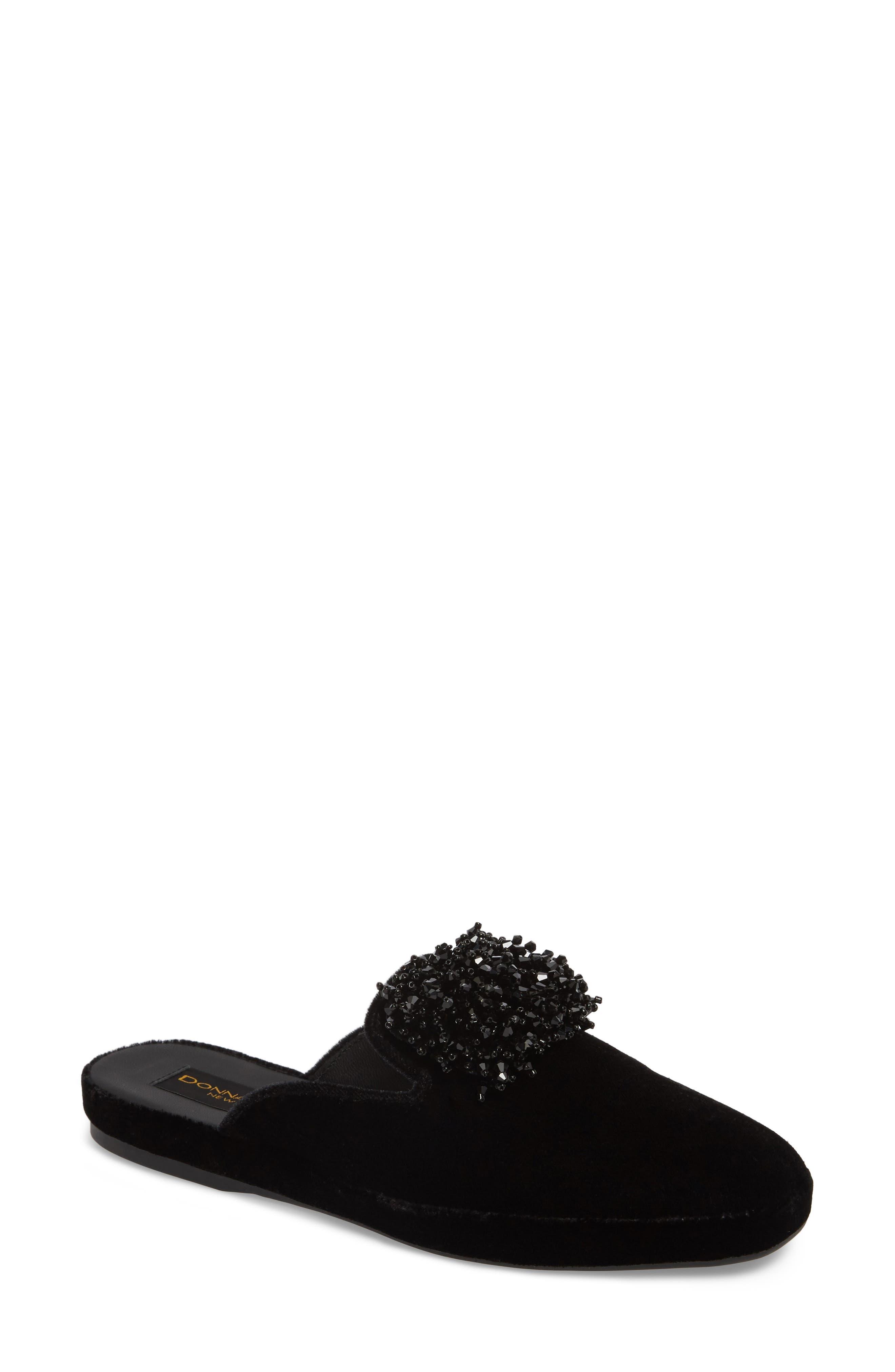 Donna Karan Cara Embellished Mule,                         Main,                         color, Black Velvet