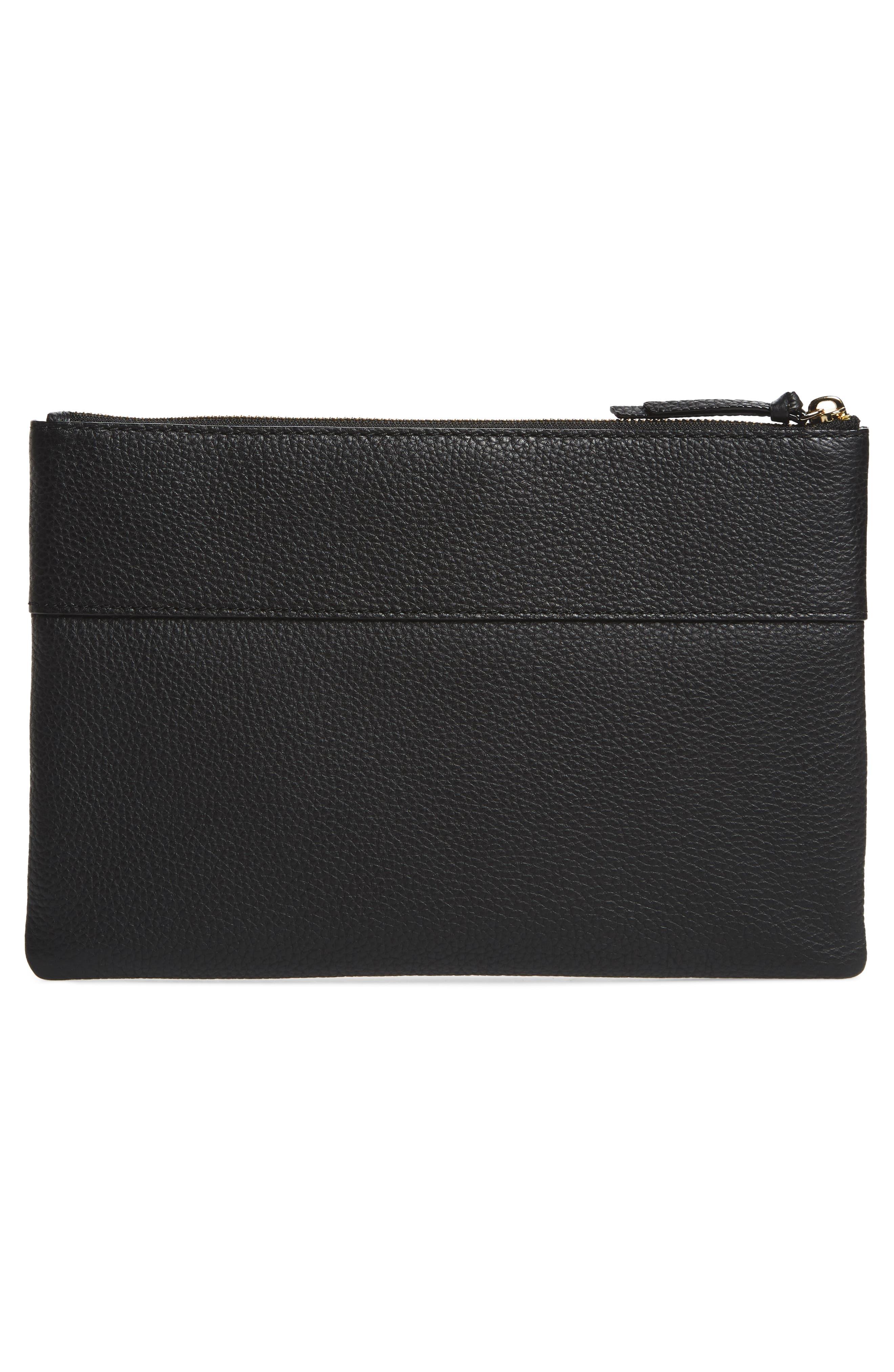 jackson street large mila leather pouch,                             Alternate thumbnail 3, color,                             Black