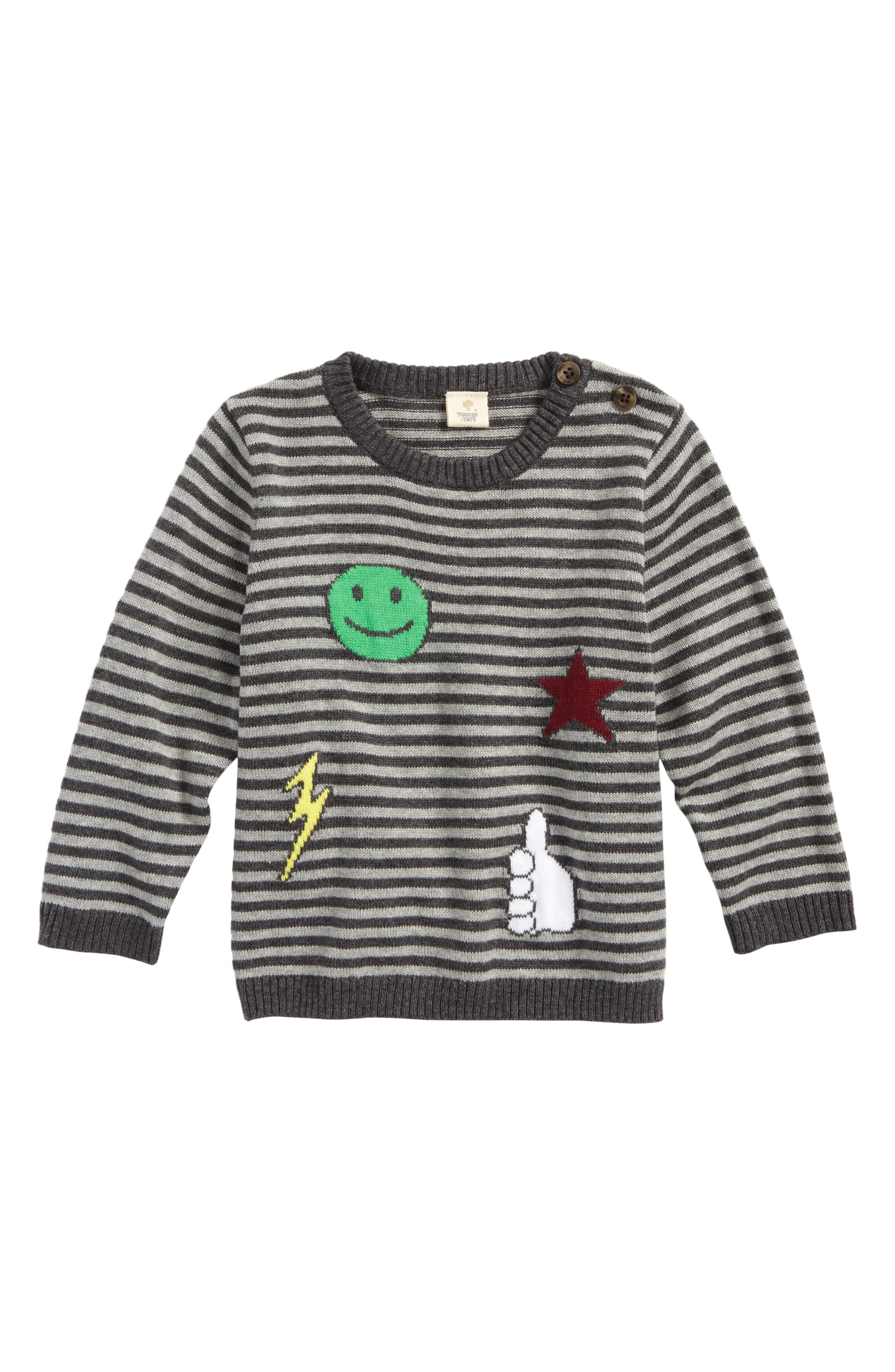 Intarsia Patches Sweater,                         Main,                         color, Grey Castlerock Stripe Patches