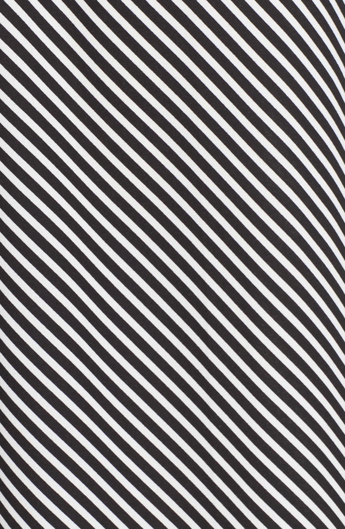 Diagonal Stripe Wide Leg Pants,                             Alternate thumbnail 6, color,                             Rich Black
