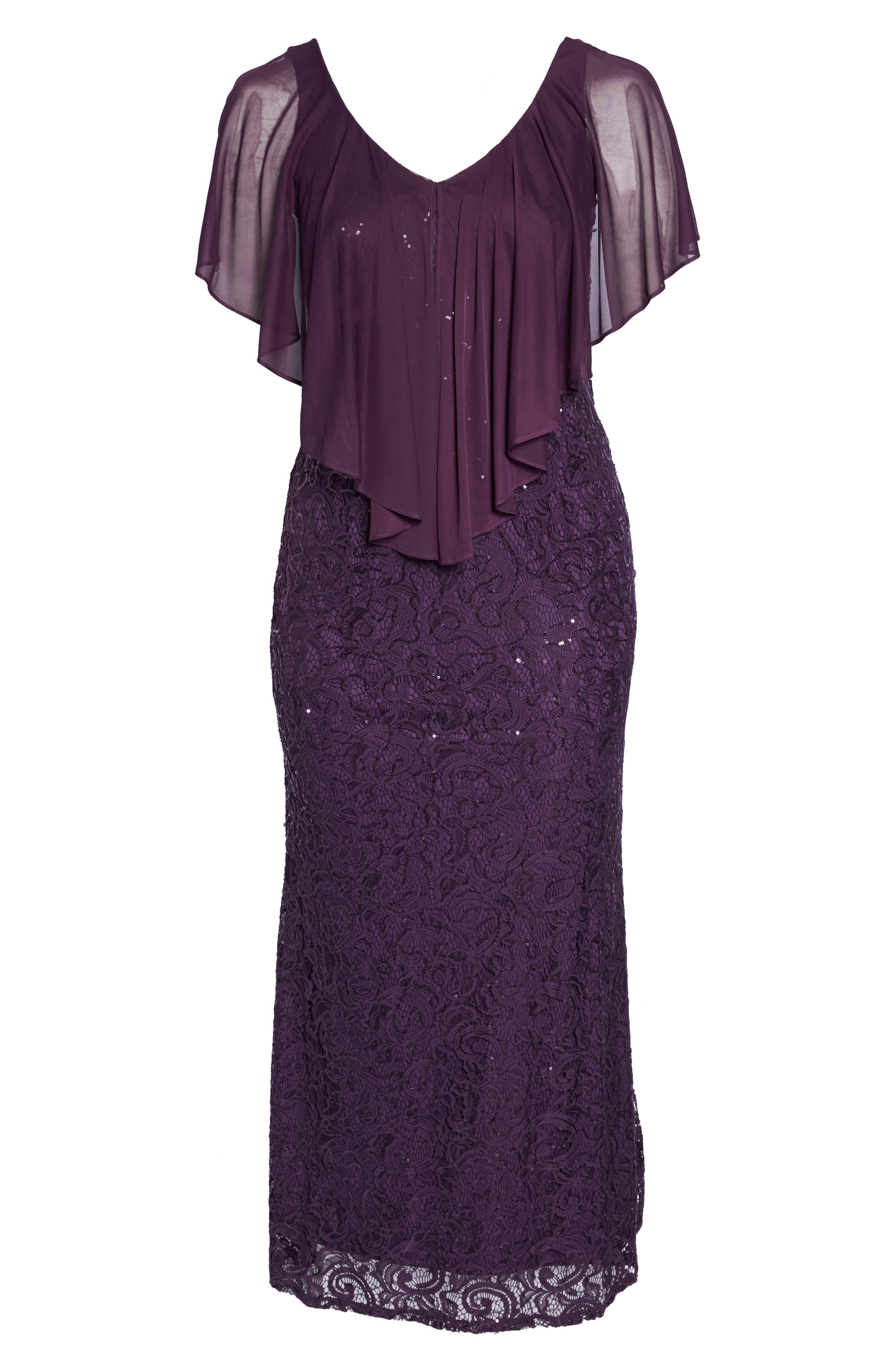 Alternate Image 6  - Marina Capelet Sequin Lace A-Line Gown (Plus Size)