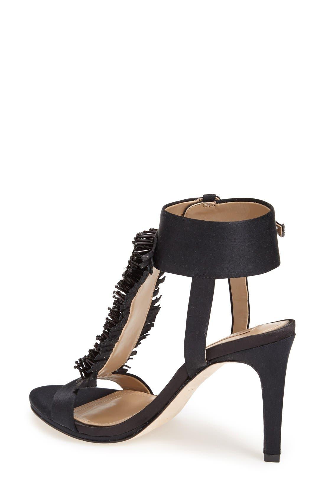 Alternate Image 2  - BCBGMAXAZRIA 'Ma-Limbo' Fringe T-Strap Satin Sandal (Women)