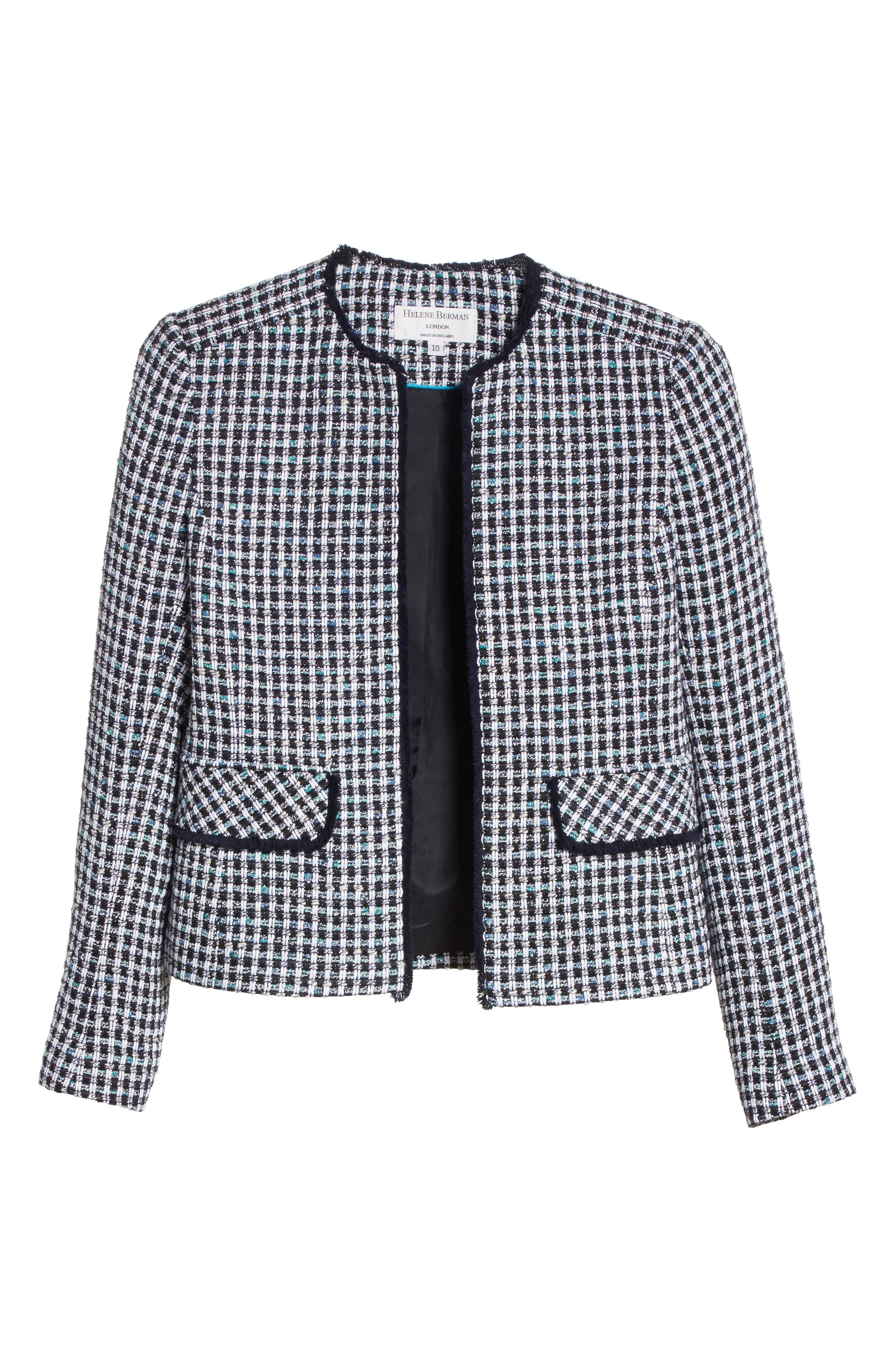 Check Short Tweed Jacket,                             Alternate thumbnail 6, color,                             Navy/ White