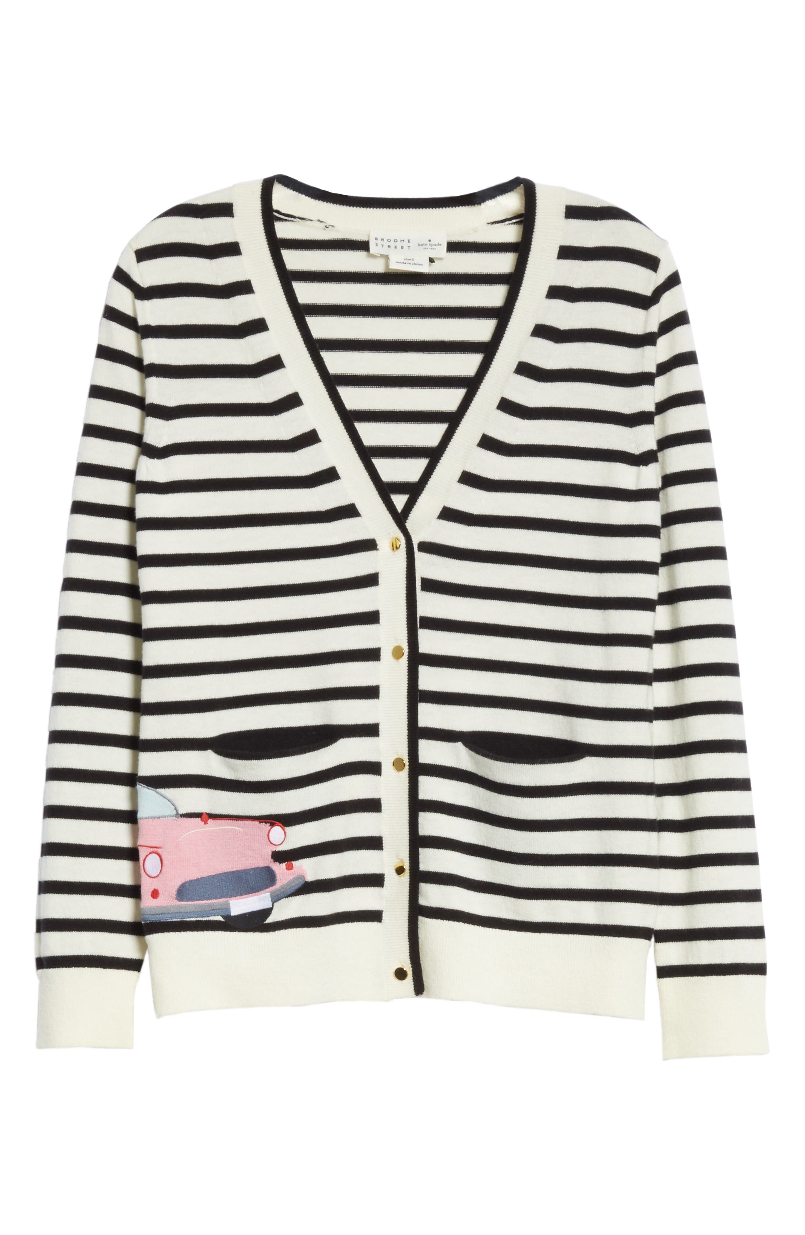 car cardigan,                             Alternate thumbnail 6, color,                             Black/ Cream Multi