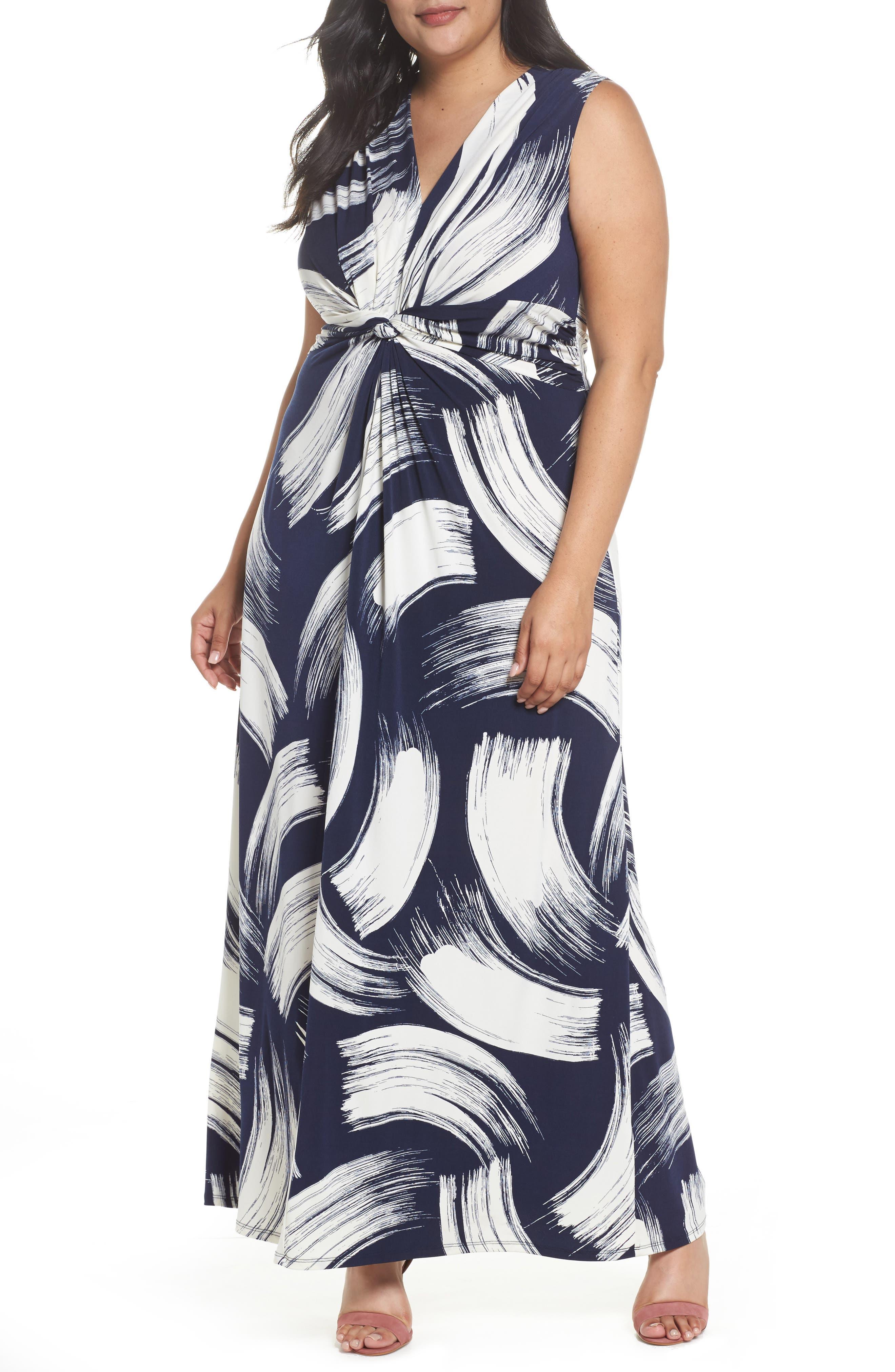 Main Image - Eliza J Brush Print Jersey Maxi Dress (Plus Size)