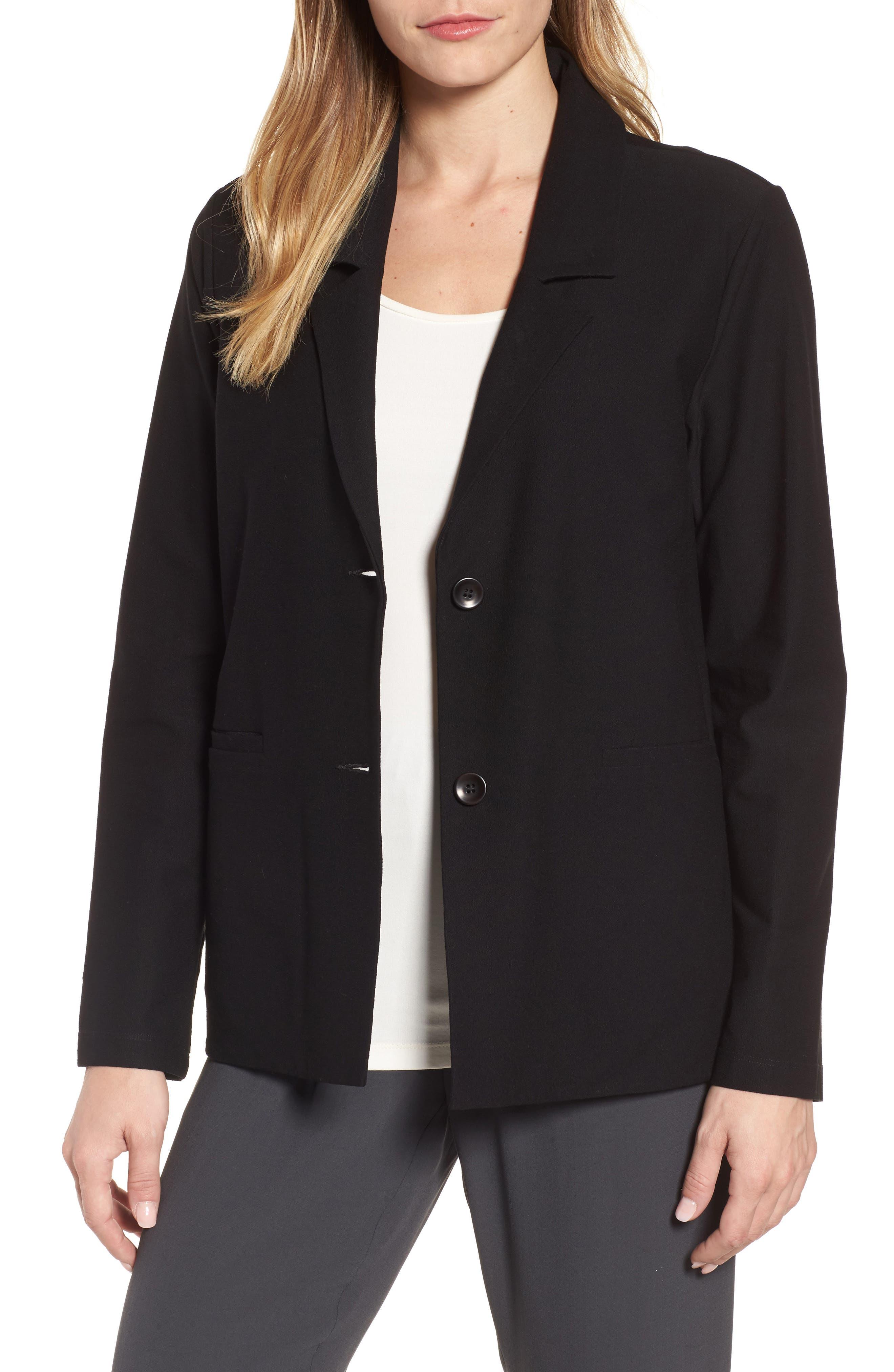 Main Image - Eileen Fisher Notch Collar Boxy Jacket