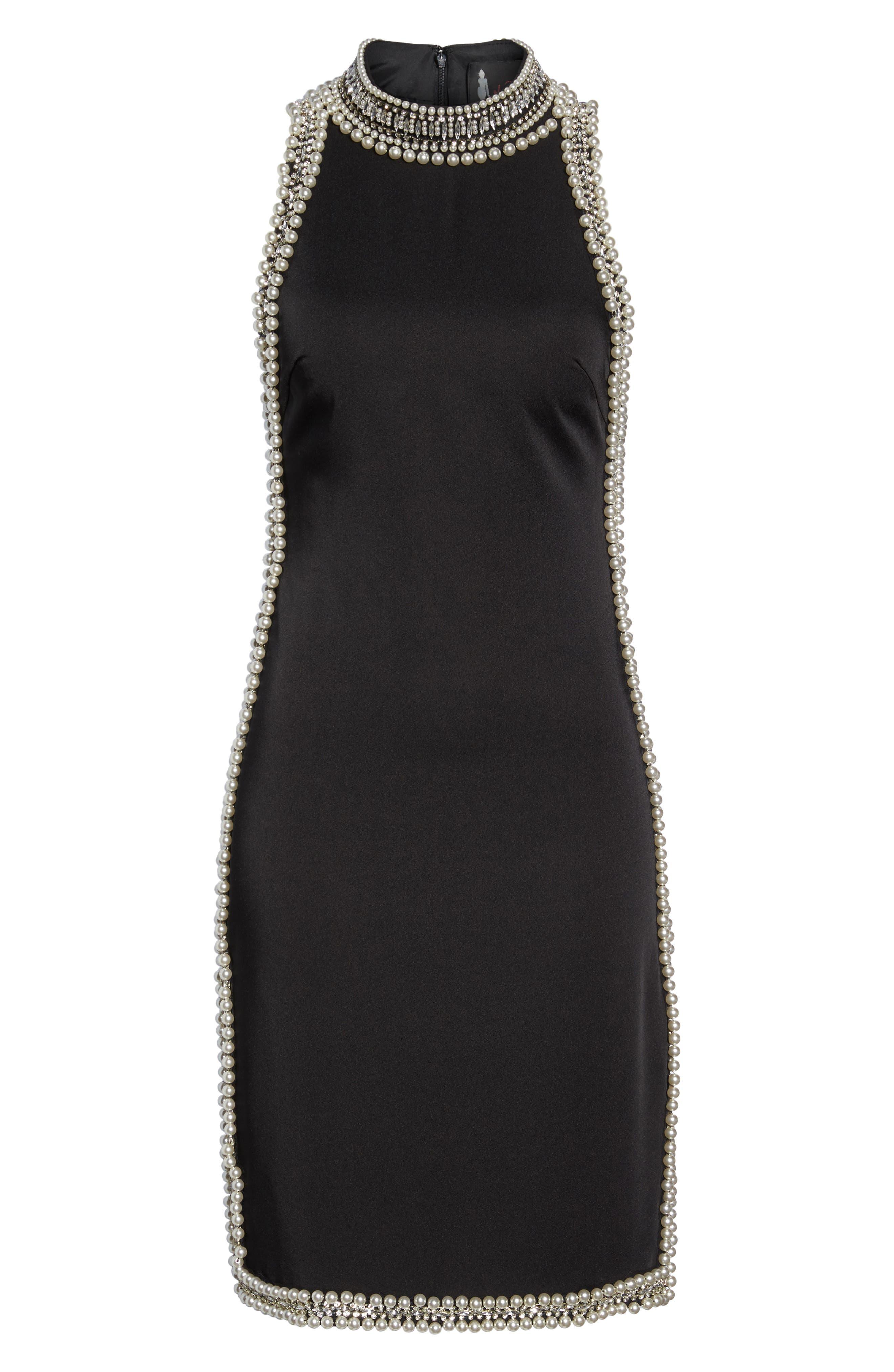 Embellished Trim Sheath Dress,                             Alternate thumbnail 6, color,                             Black