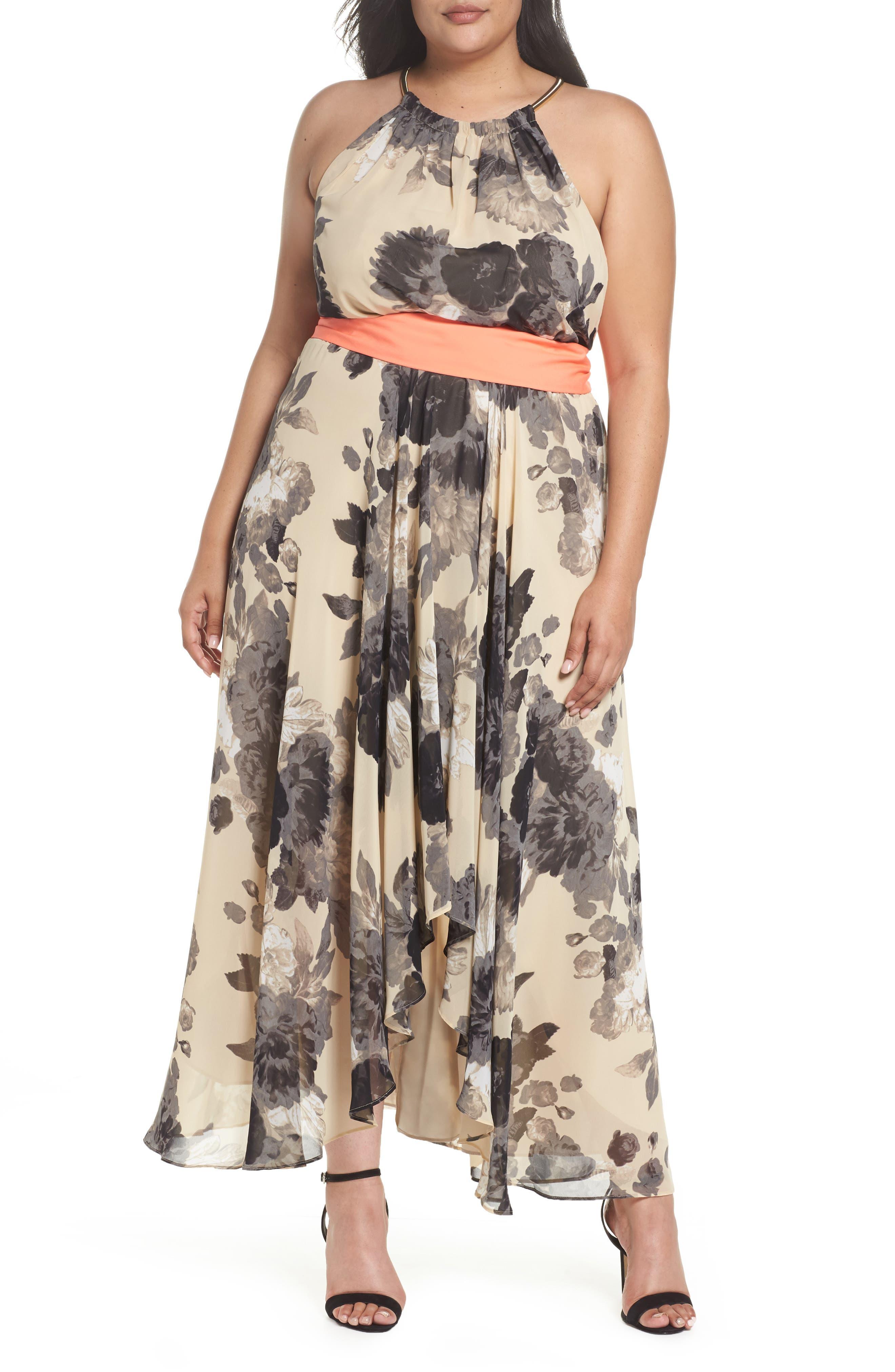 Main Image - Eliza J Floral Print Chiffon High/Low Dress (Plus Size)