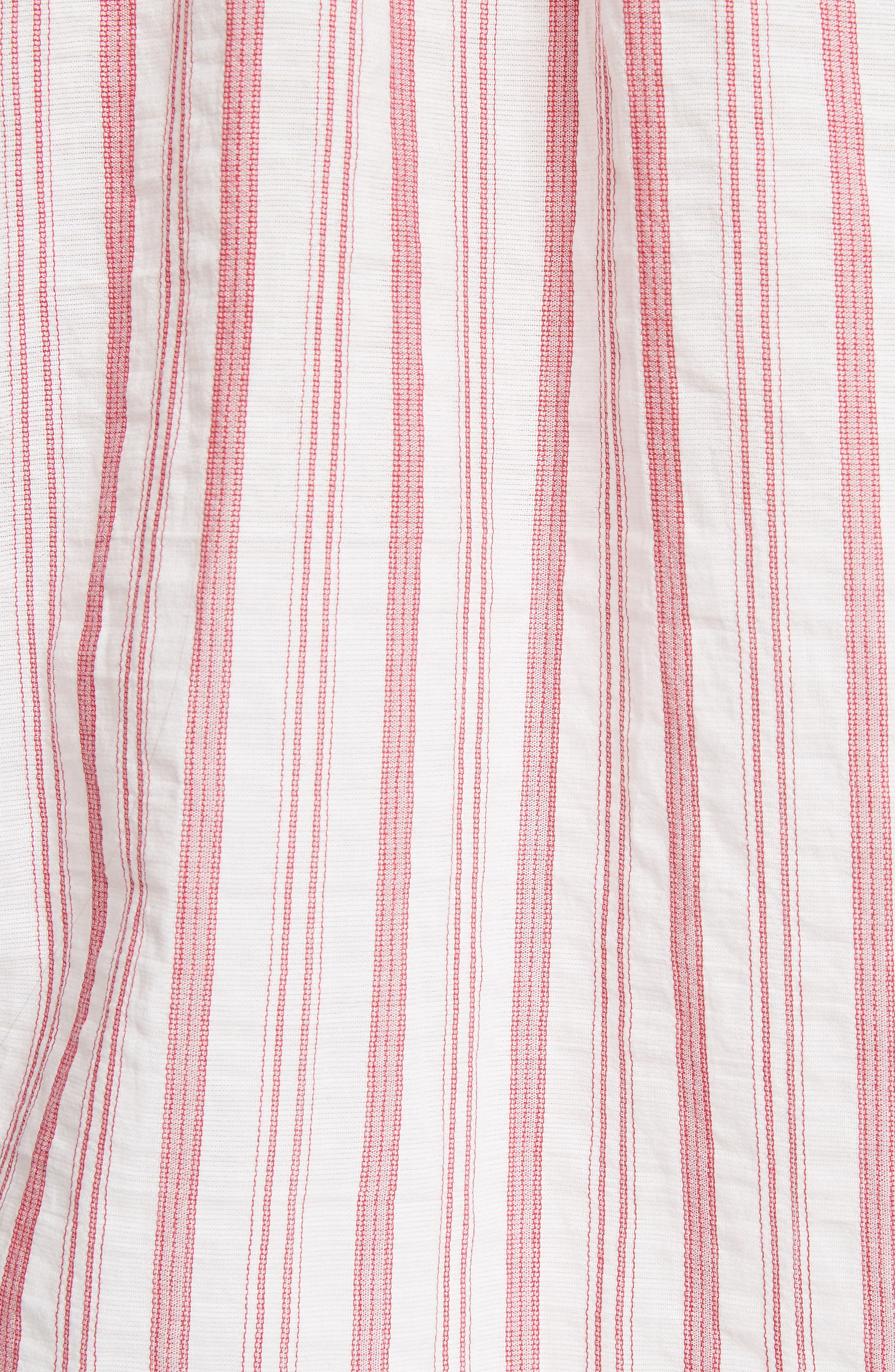 Stripe Cotton Top,                             Alternate thumbnail 5, color,                             Off White/ Poppy
