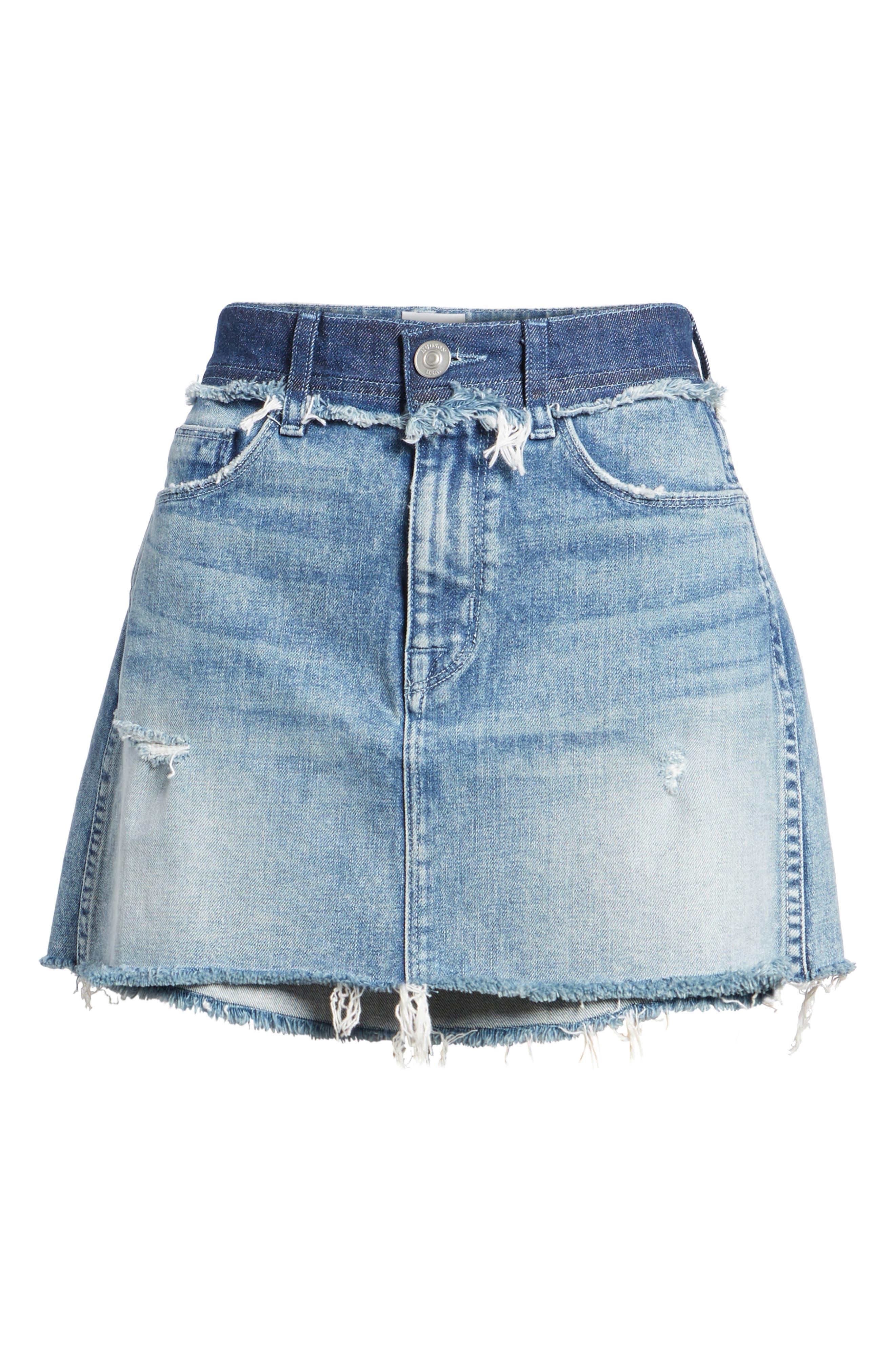 Vivid Cutoff Denim Miniskirt,                             Alternate thumbnail 6, color,                             Rock Steady